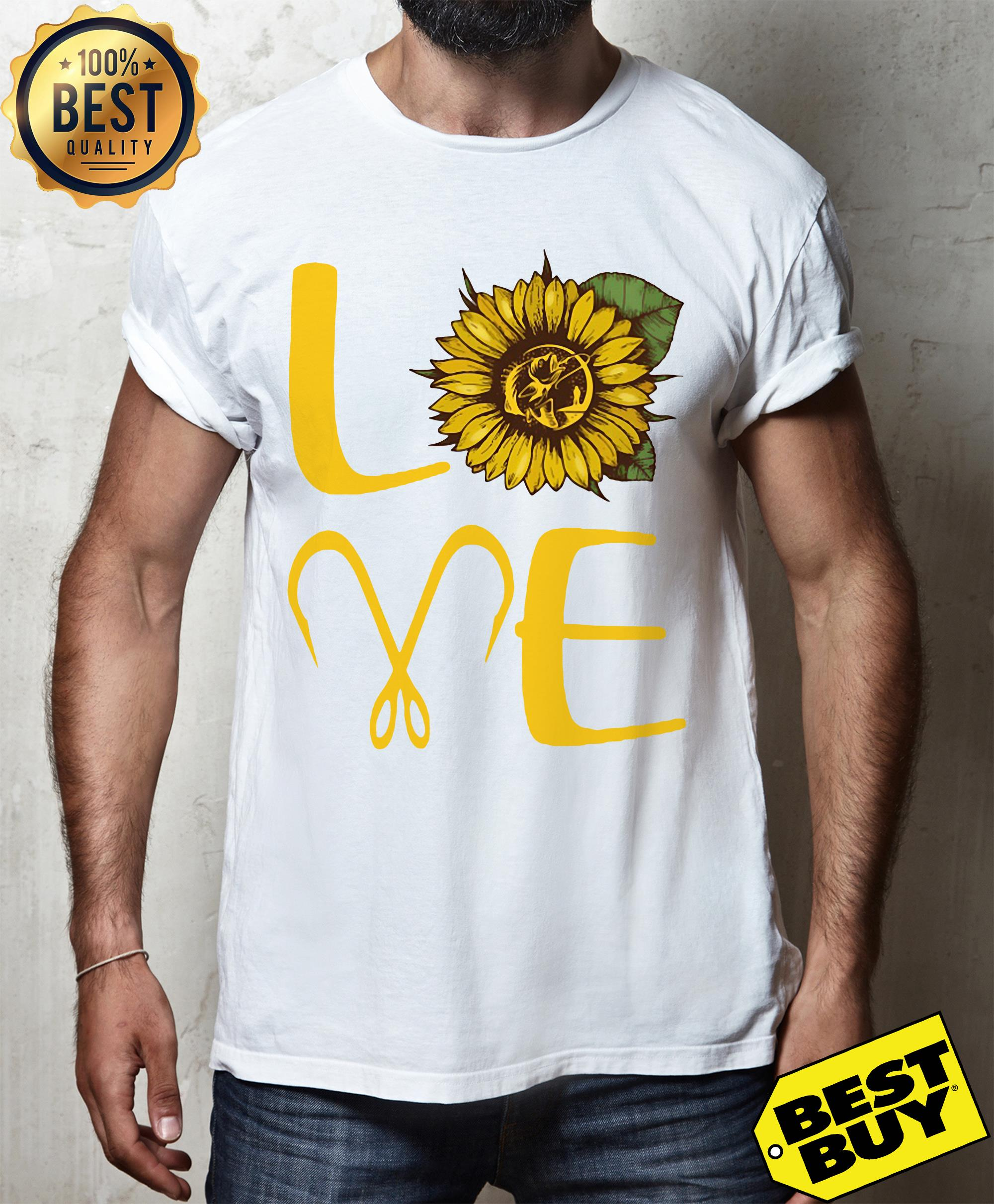 Sunflower Love Fishing Funny v-neck