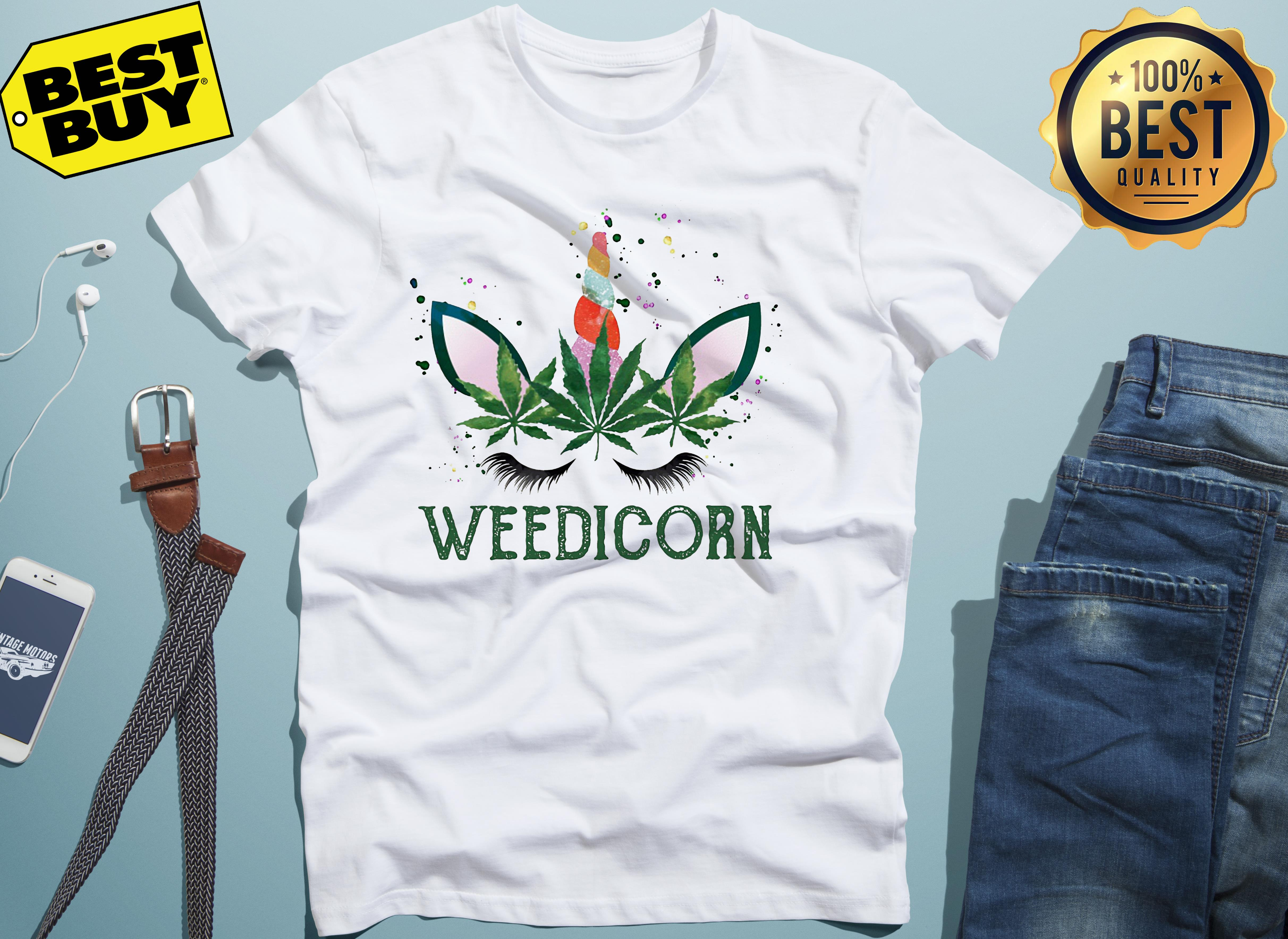 Weed Unicorn Weedicorn Funny v-neck