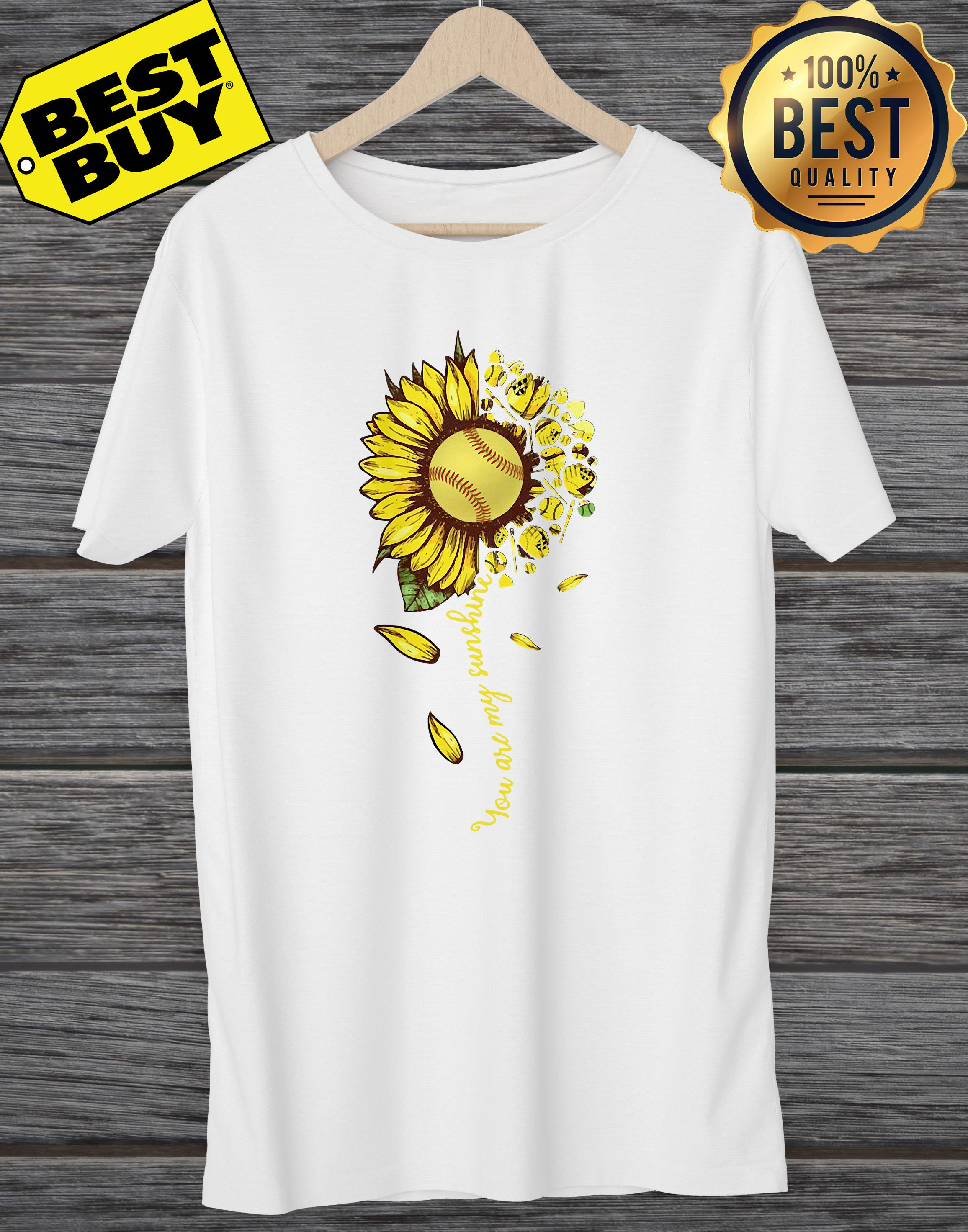 You Are My Sunshine Softball Sunflower ladies tee