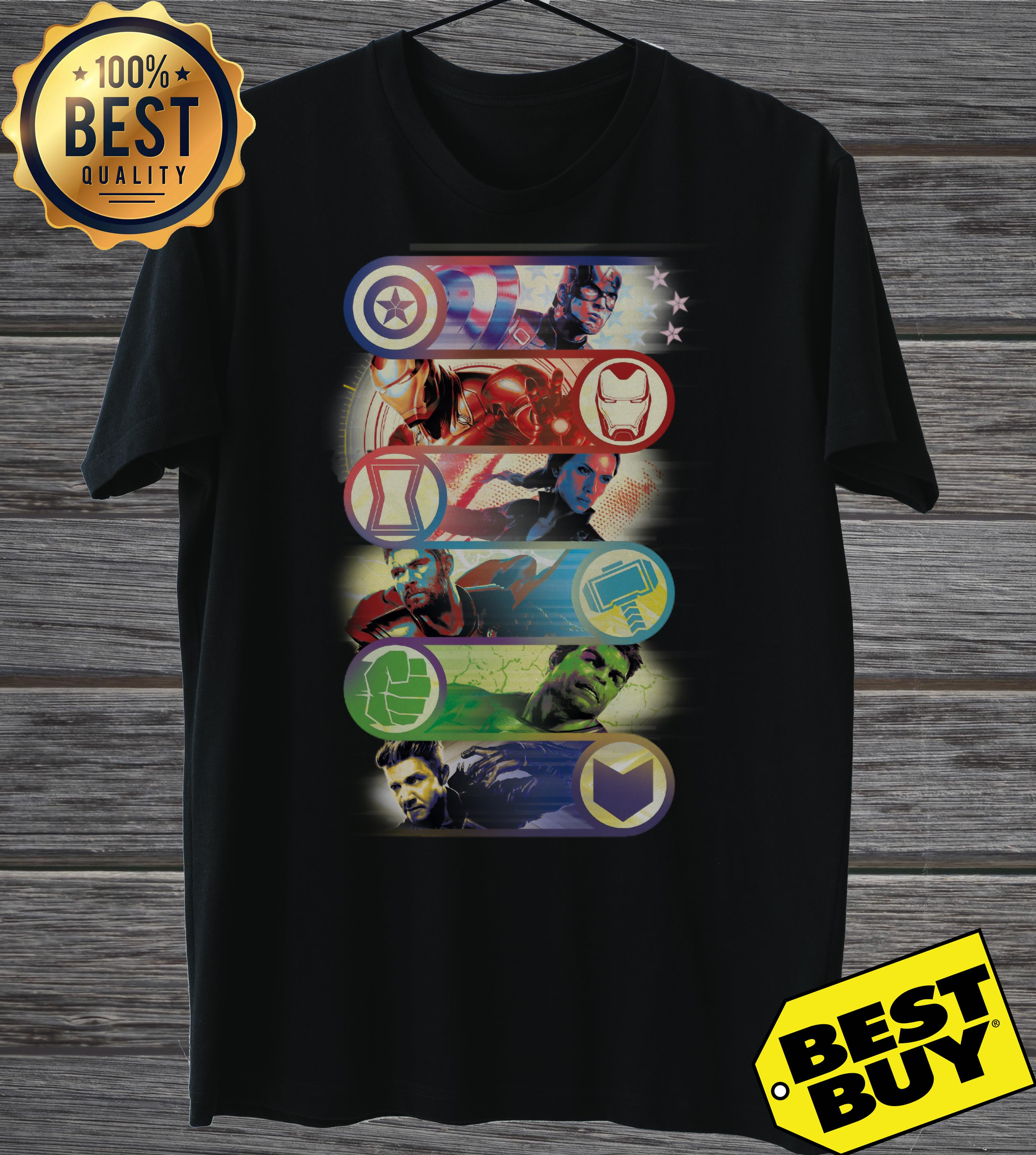 Avengers Endgame Captain America Iron Man Black Widow Thor Hulk Hawkeye One Last Fight Ladies Tee