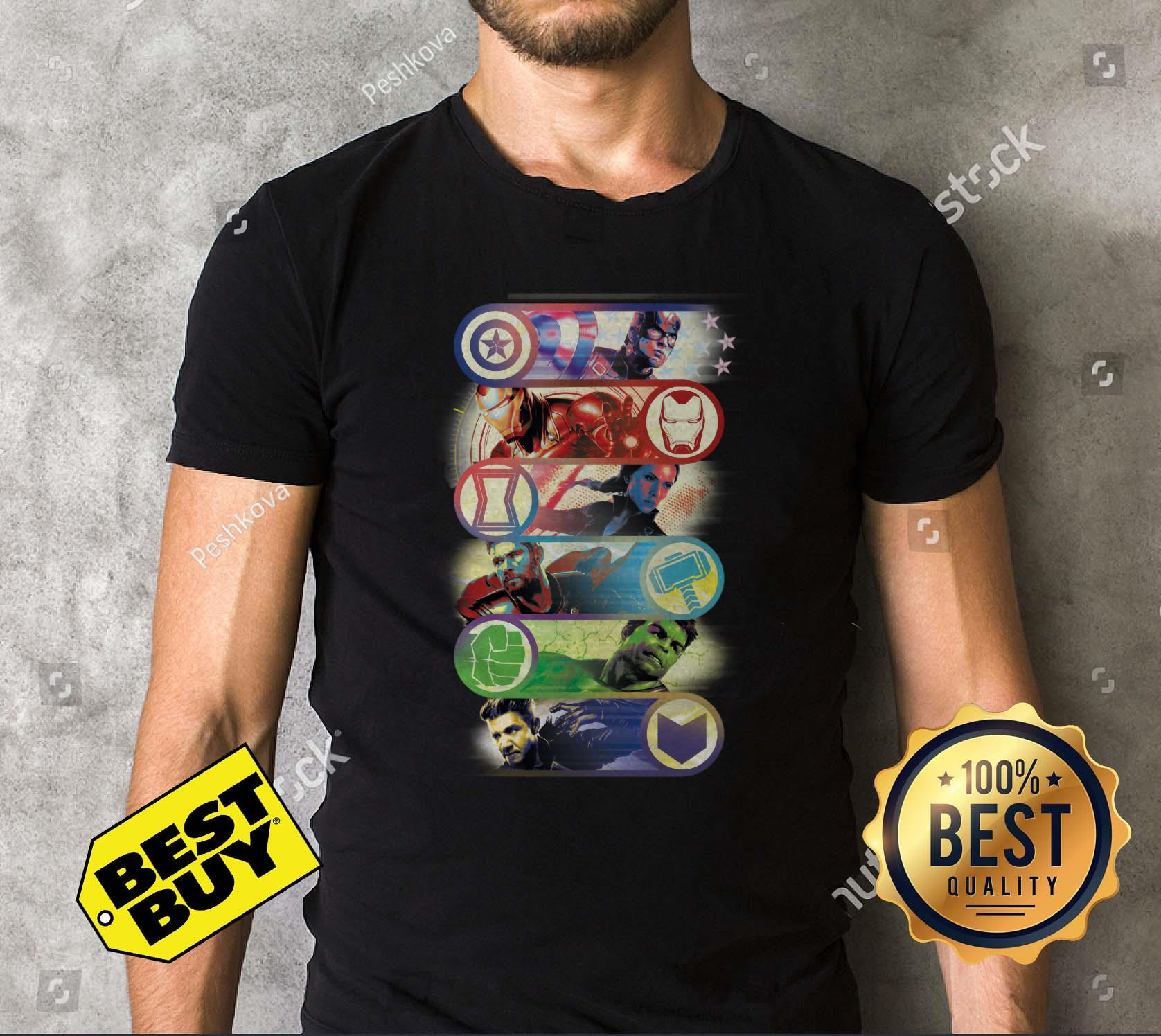 Avengers Endgame Captain America Iron Man Black Widow Thor Hulk Hawkeye One Last Fight V Neck