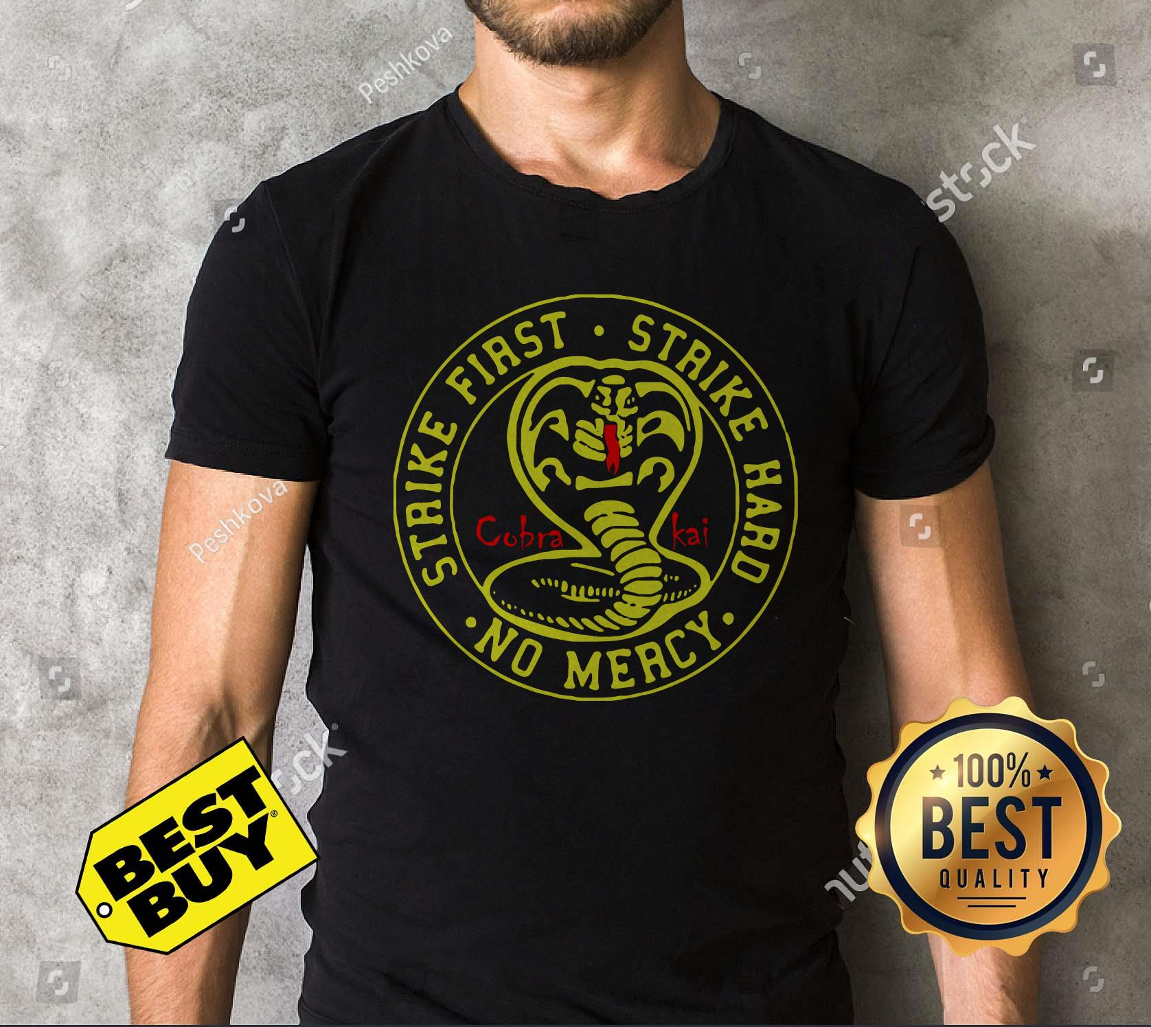 Cobra Kai Strike First Strike Hard No Mercy v-neck