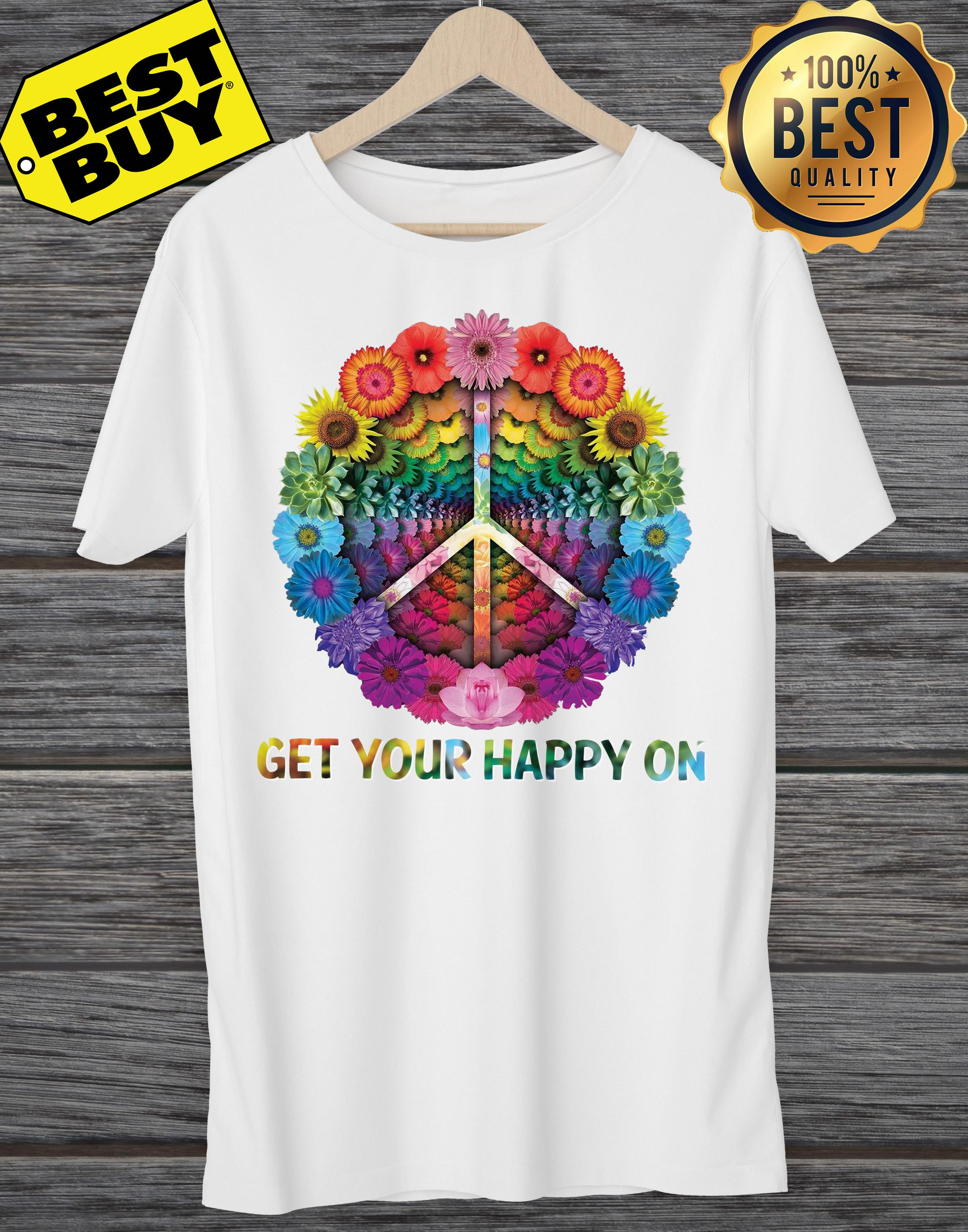 Hippie Peace Get Your Happy On Flowers ladies tee