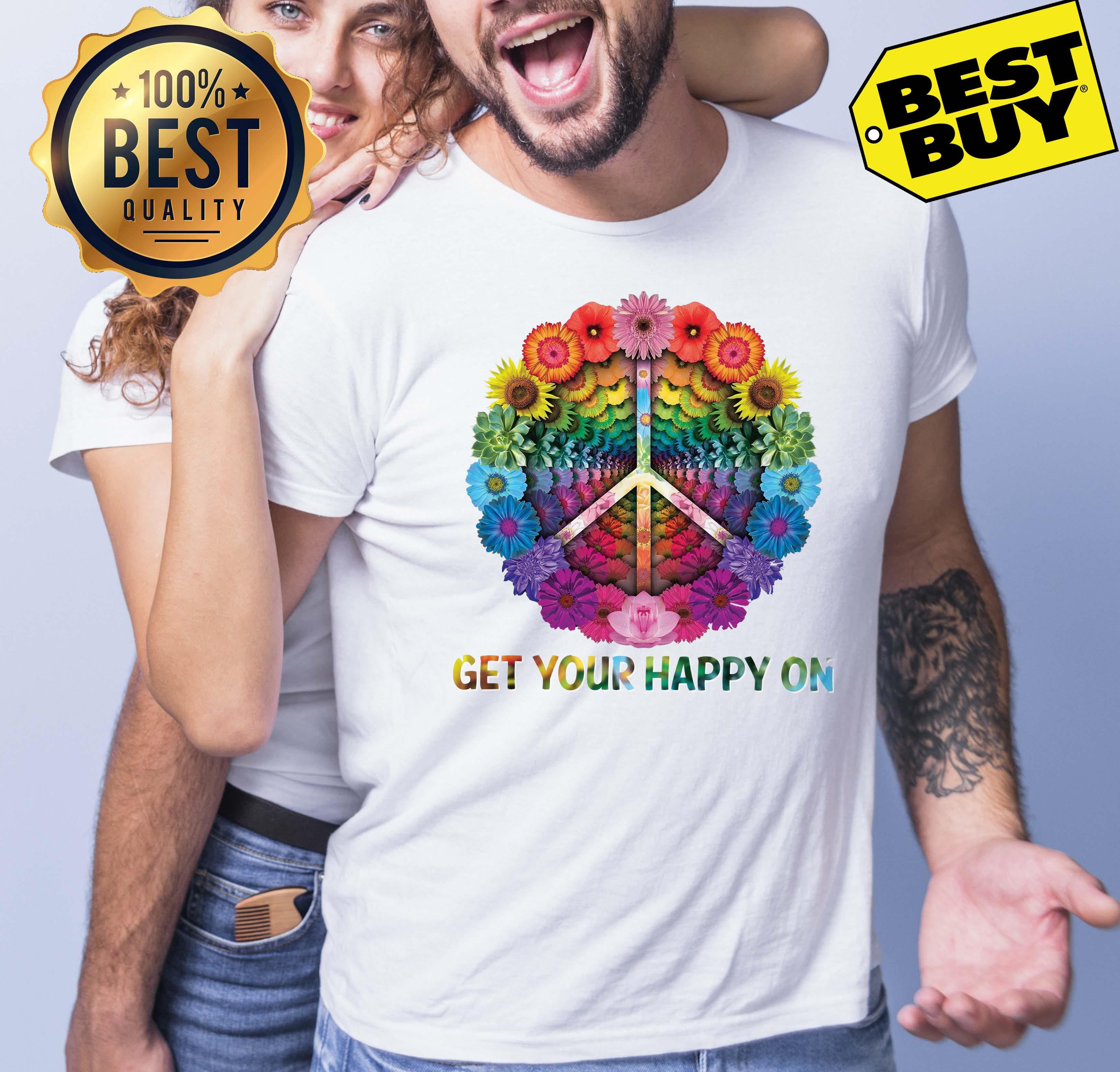 Hippie Peace Get Your Happy On Flowers v-neck