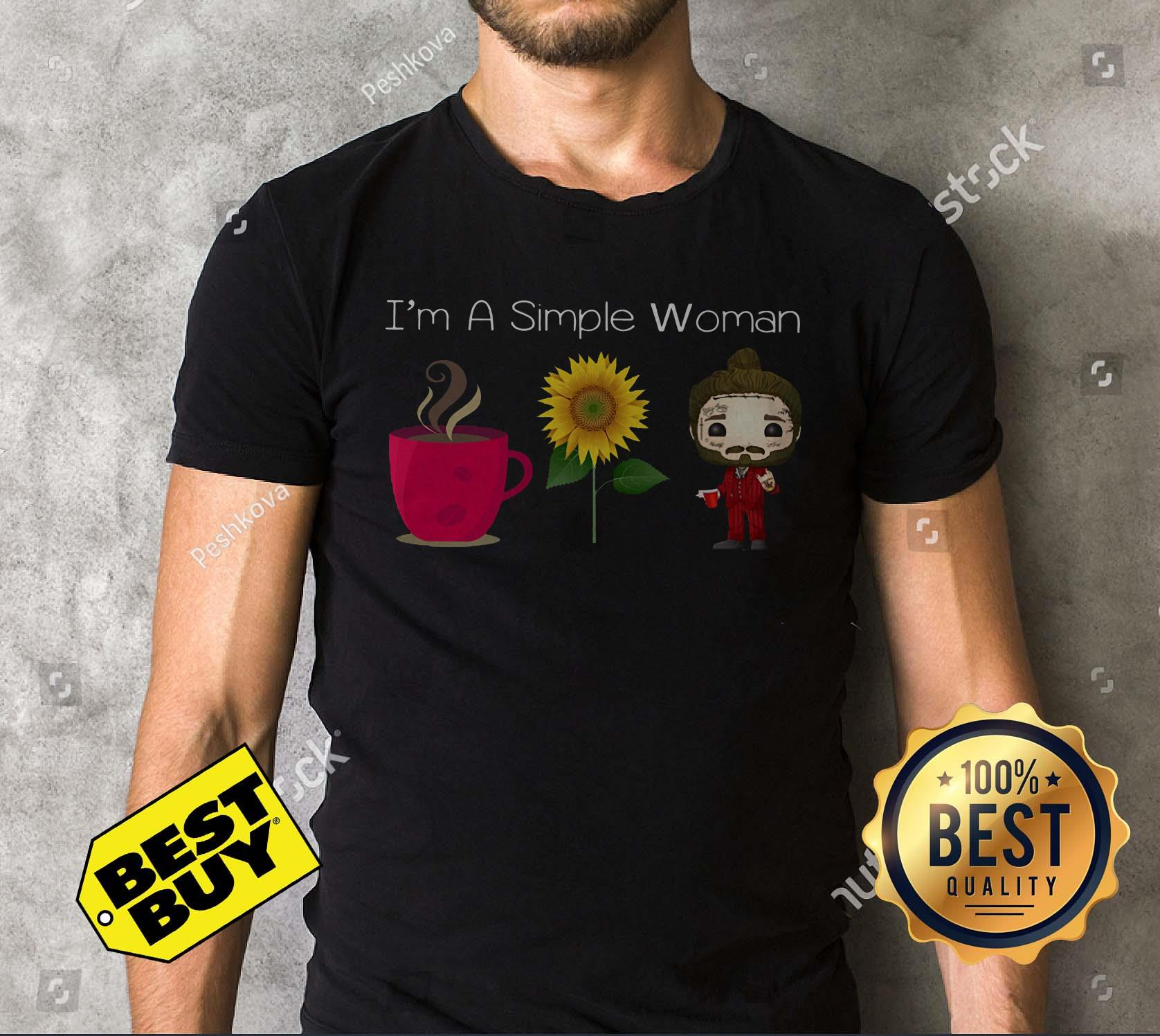 I'm A Simple Woman Coffee Sunflower Post Malone v-neck