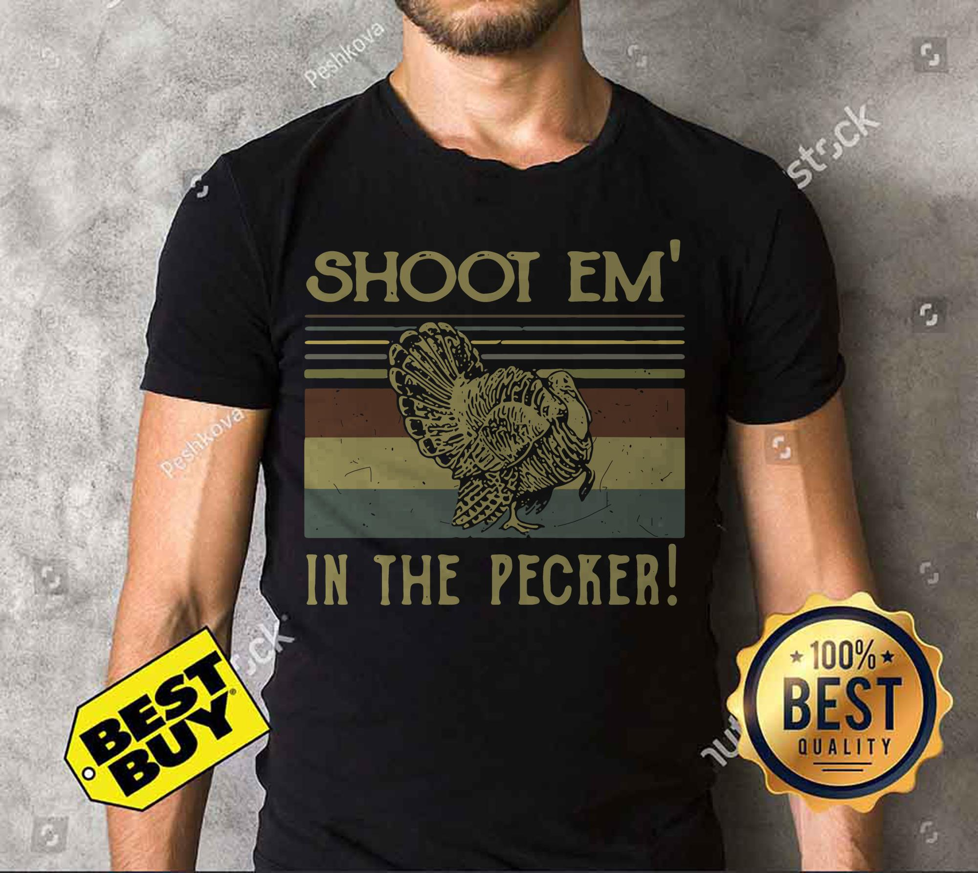 Turkey Hunter Shoot Em In The Pecker Retro Vintage v-neck