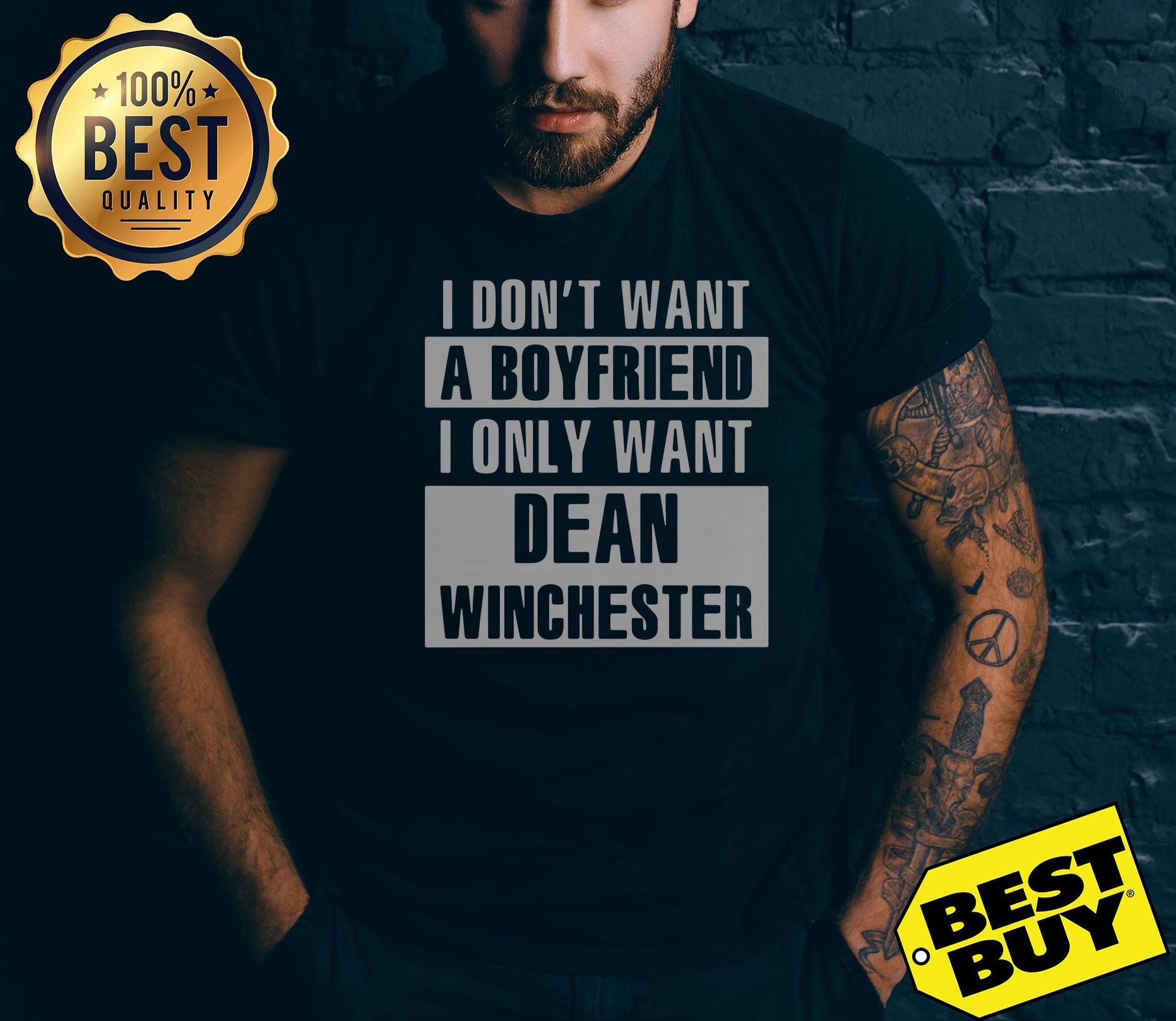 I Don't Want A Boyfriend I Only Want Dean Winchester v-neck