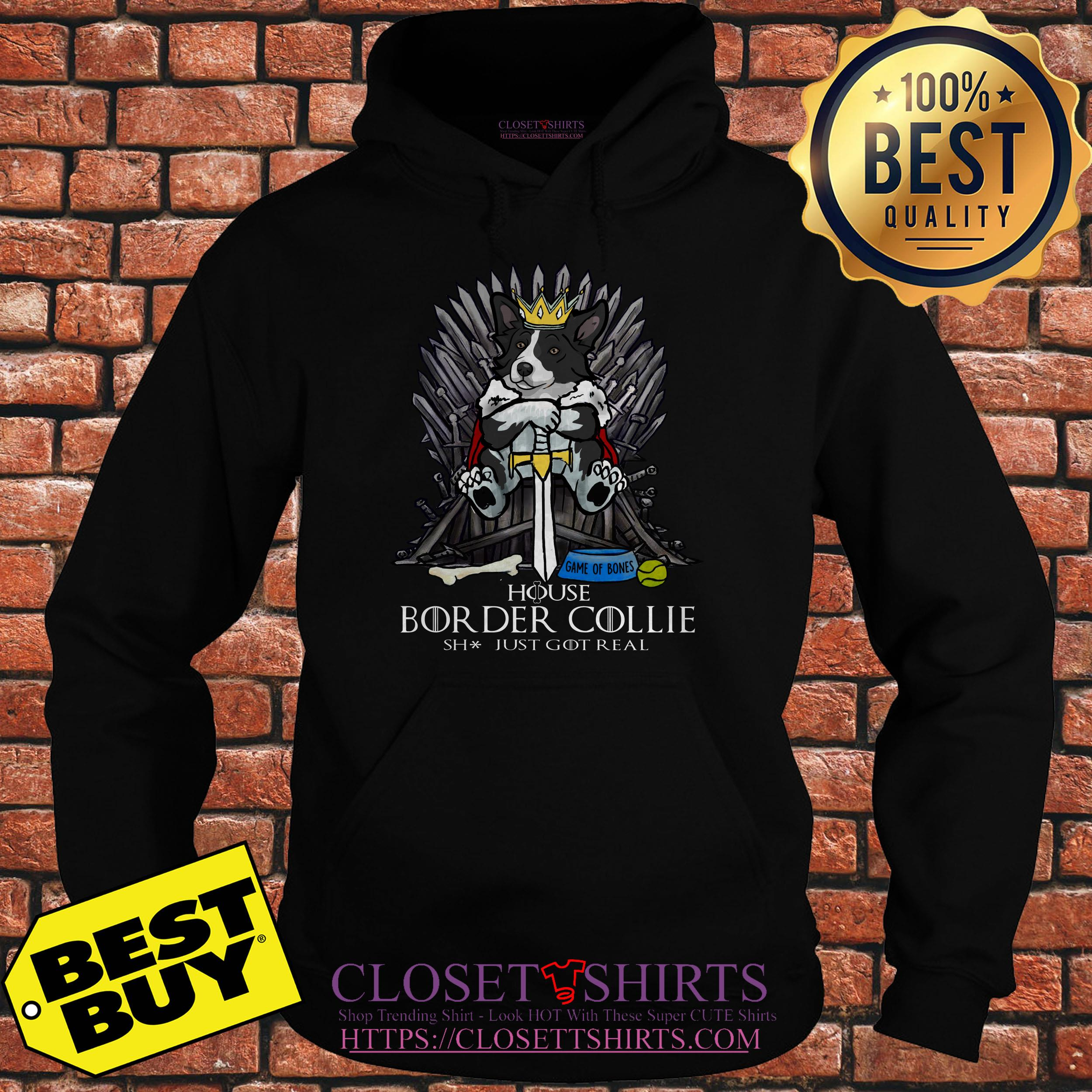 Game Bones House Border Collie Shit Just Got Real Hoodie