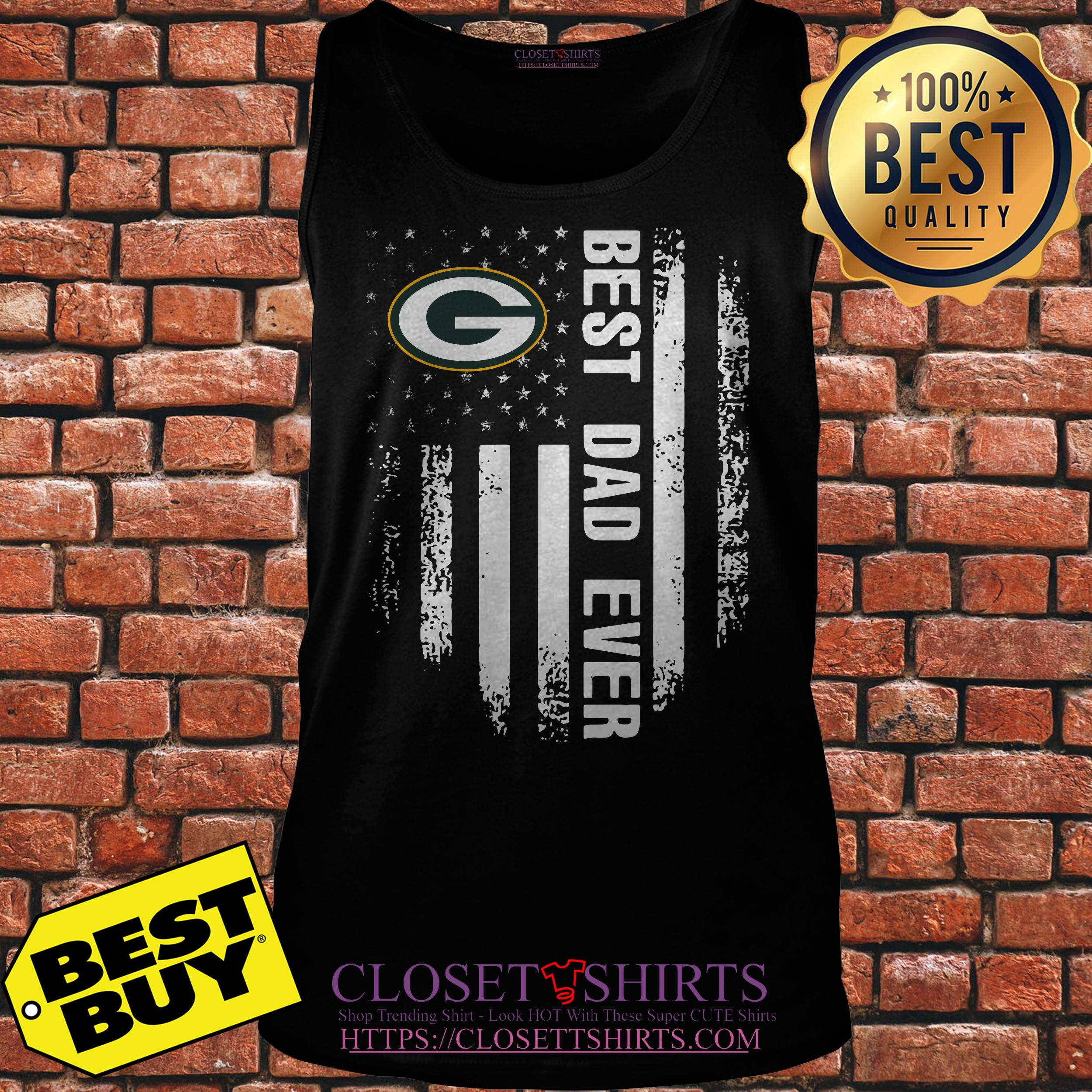Green Bay Packers Best Dad Ever American Flag tank top