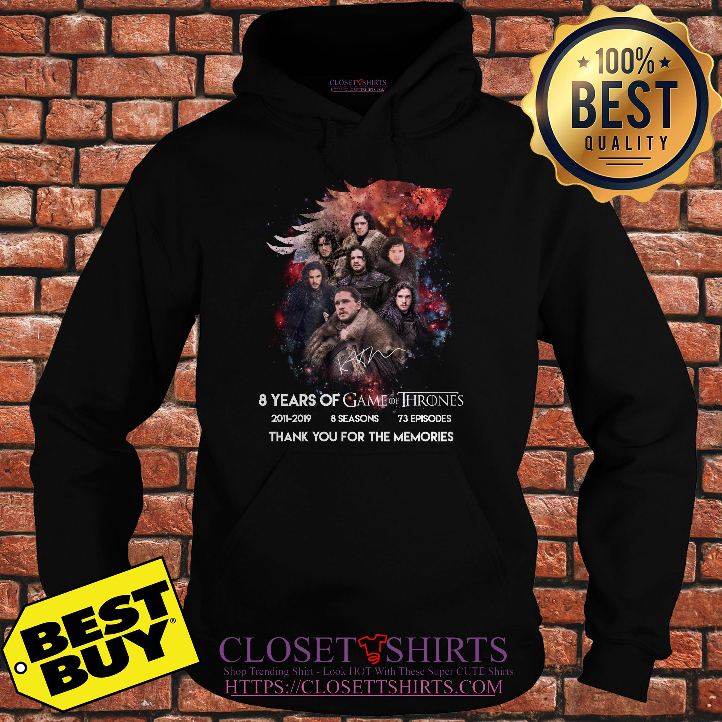 Jon Snow 8 Years Of Game Of Thrones Signature Thank You For The Memories hoodie