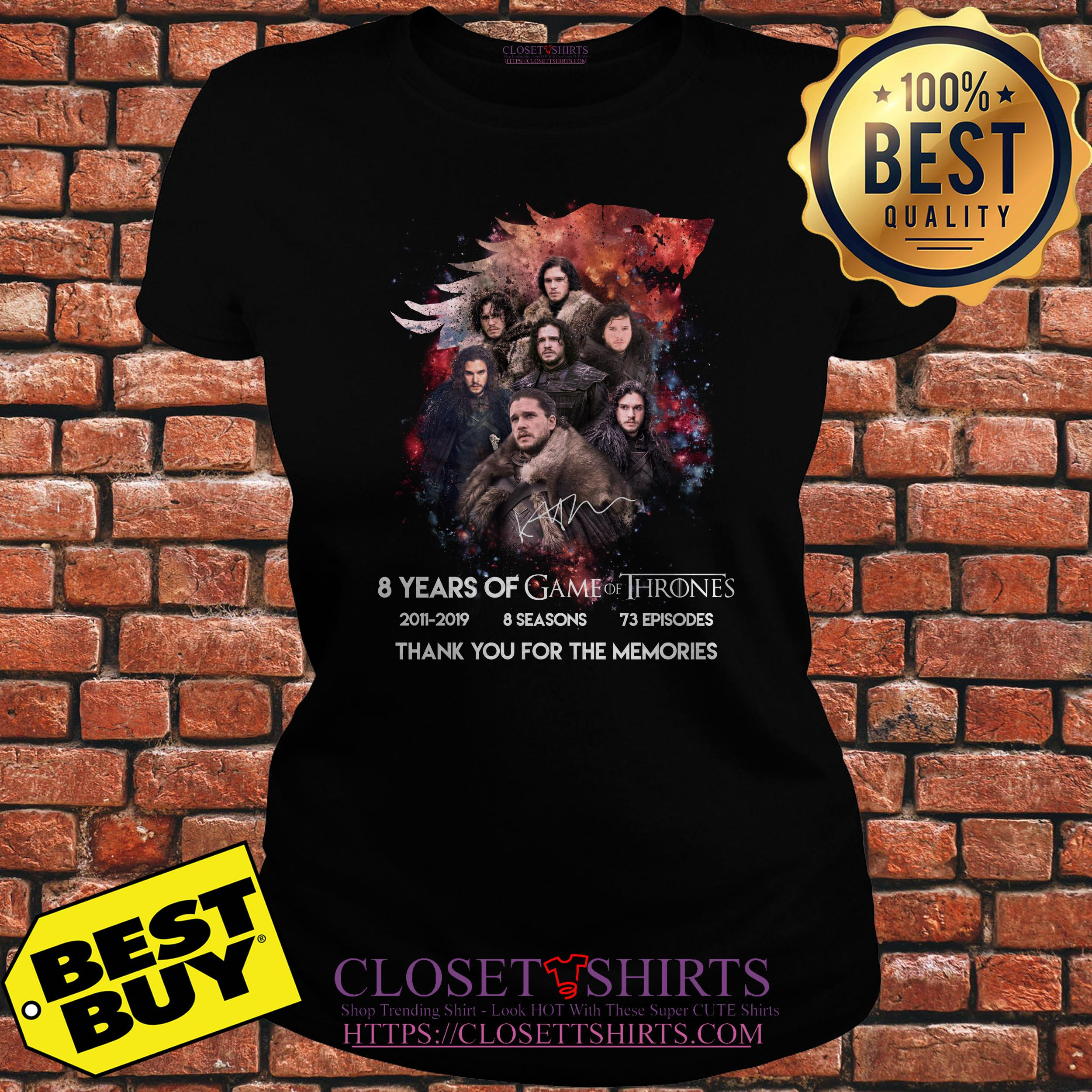 Jon Snow 8 Years Of Game Of Thrones Signature Thank You For The Memories ladies tee