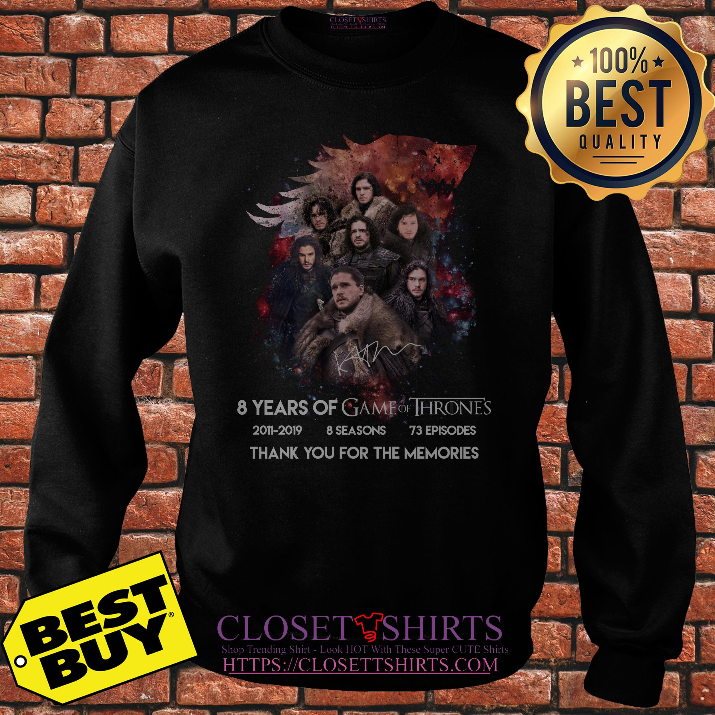 Jon Snow 8 Years Of Game Of Thrones Signature Thank You For The Memories Sweatshirt