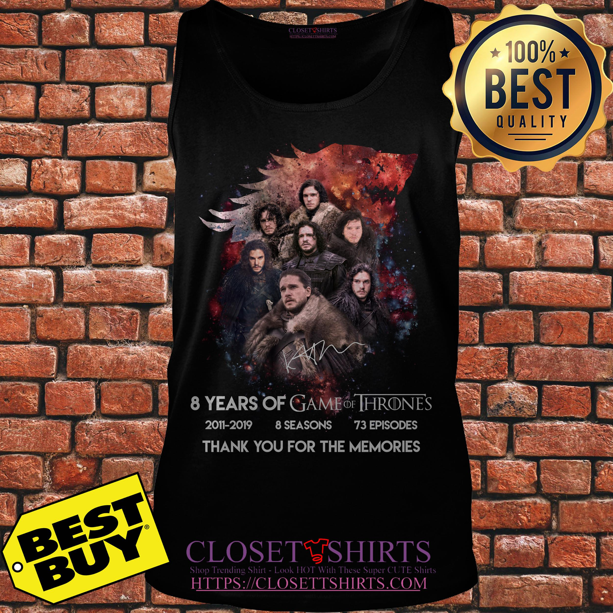 Jon Snow 8 Years Of Game Of Thrones Signature Thank You For The Memories tank top