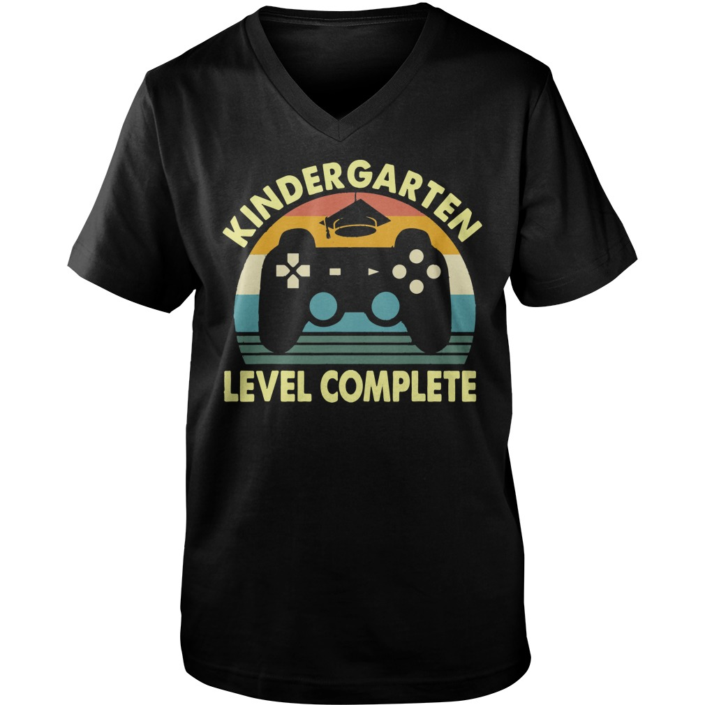 Kindergarten Level Complete Video Gamer Graduation v-neck