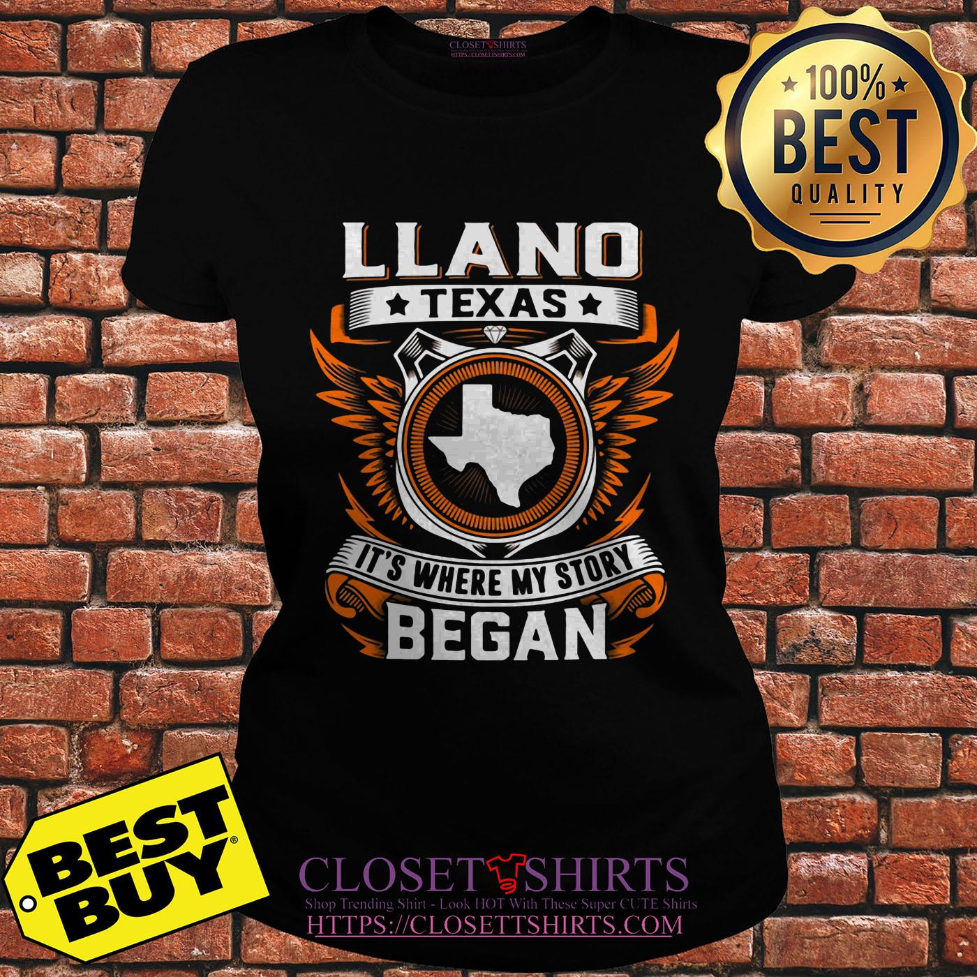 Llano Texas It's Where My Story Began ladies tee