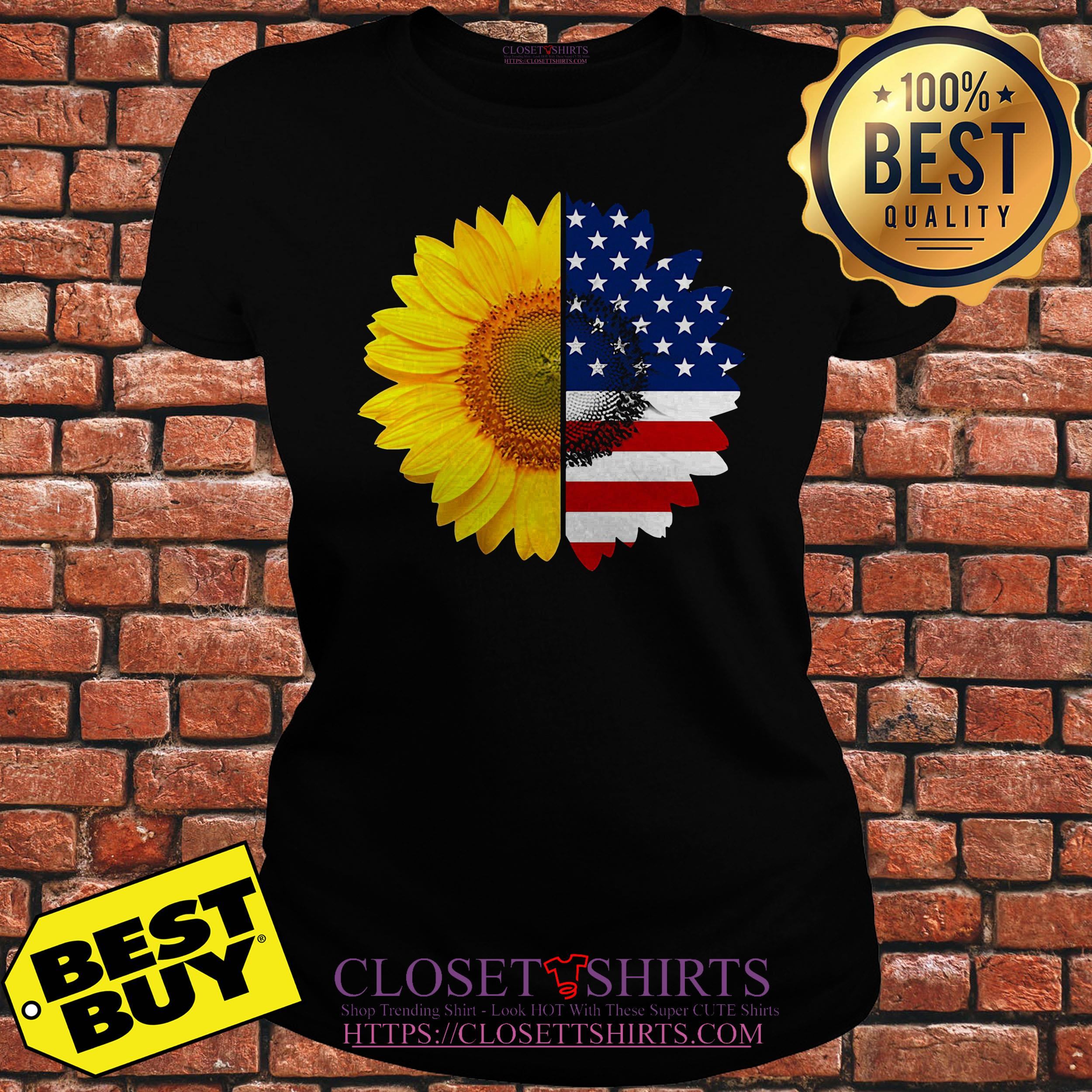 Official Sunflower American Flag ladies tee