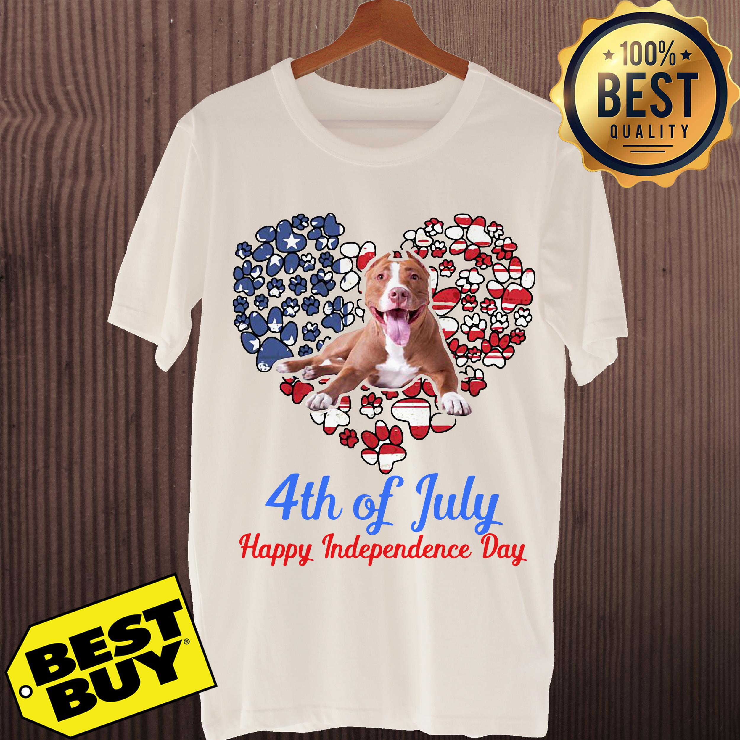 Pitbull 4th Of July Happy Independence Day ladies tee