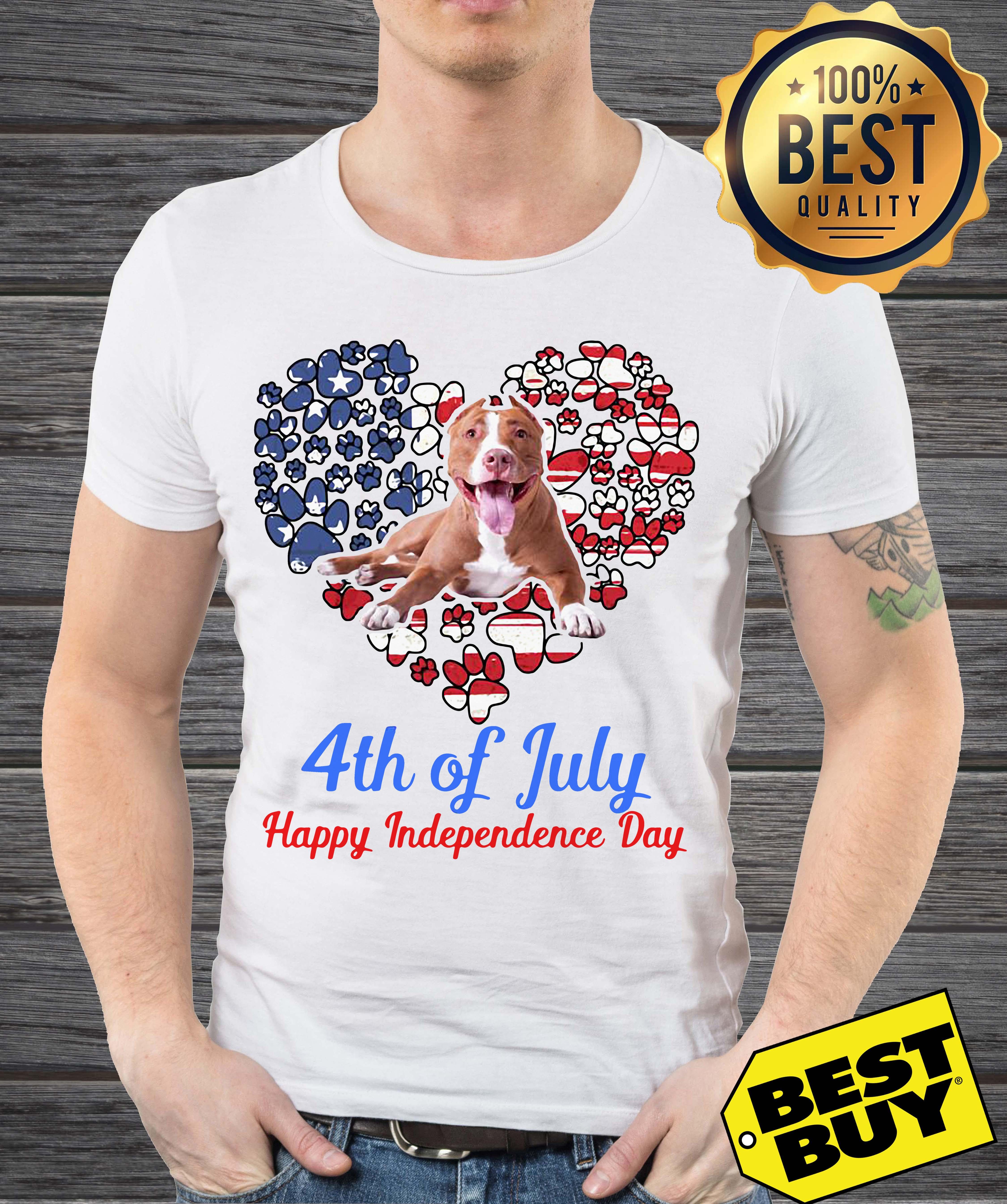 Pitbull 4th Of July Happy Independence Day v-neck