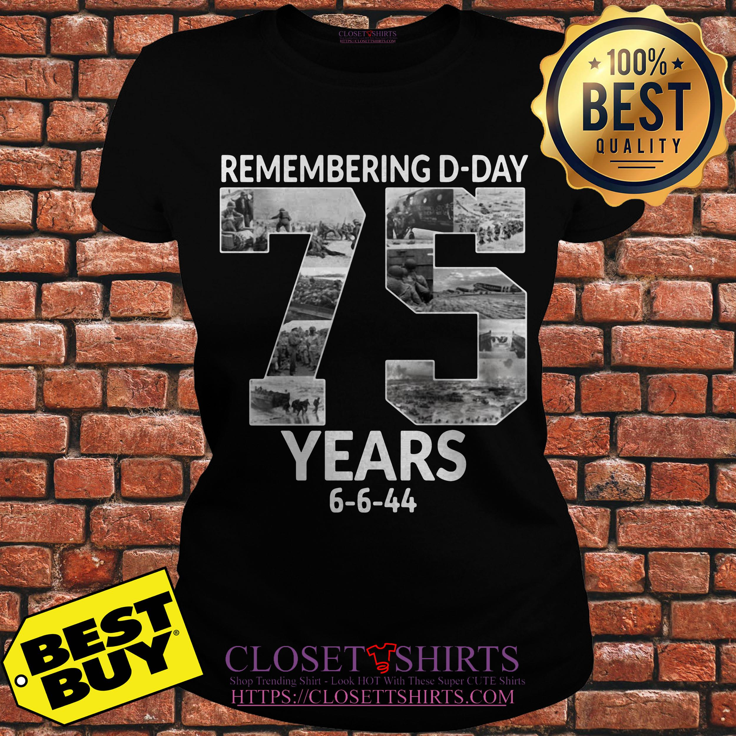 Remembering D Day 75 Years Anniversary 6 6 44 v-neck