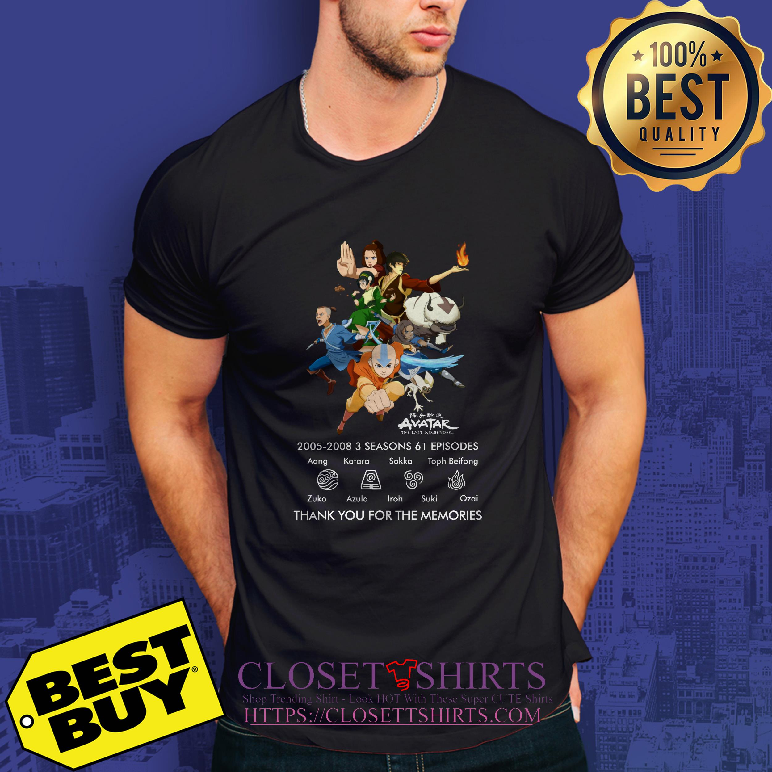 Avatar The Last Airbender 2005 2008 3 Thank You For The Memories v-neck