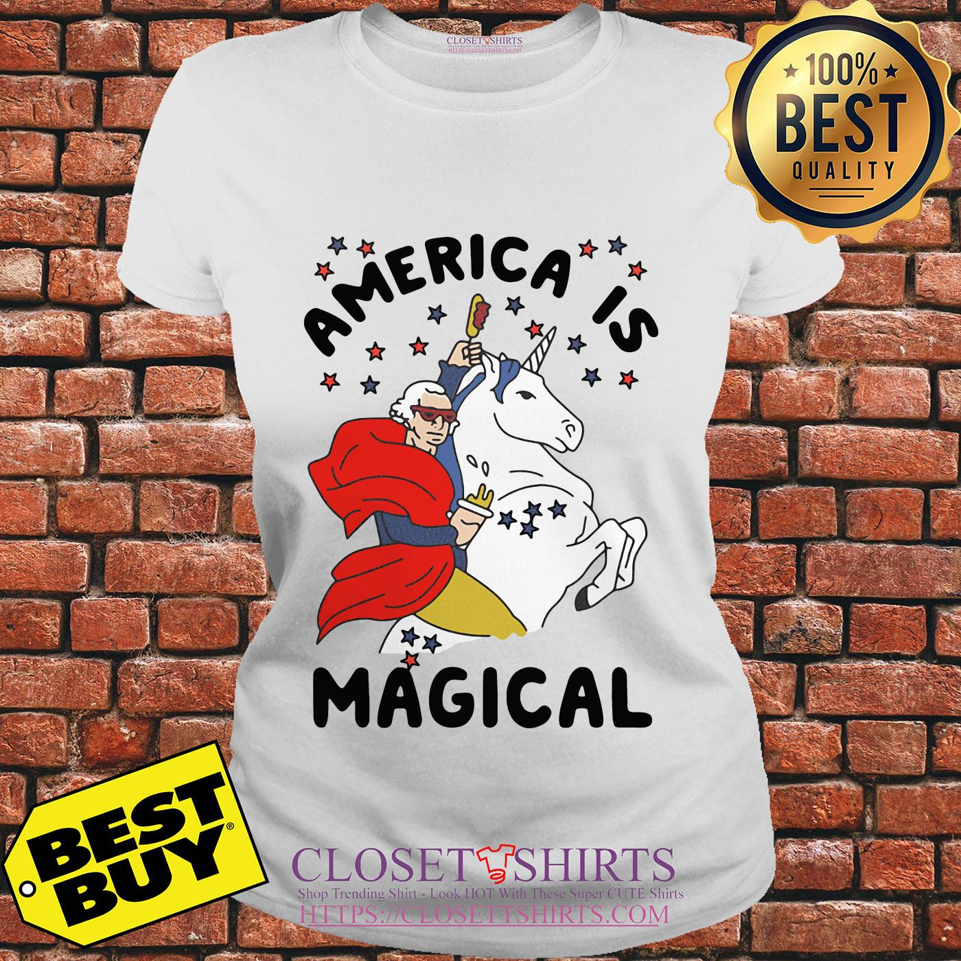 George Washington America Is Magical Unicorn ladies tee