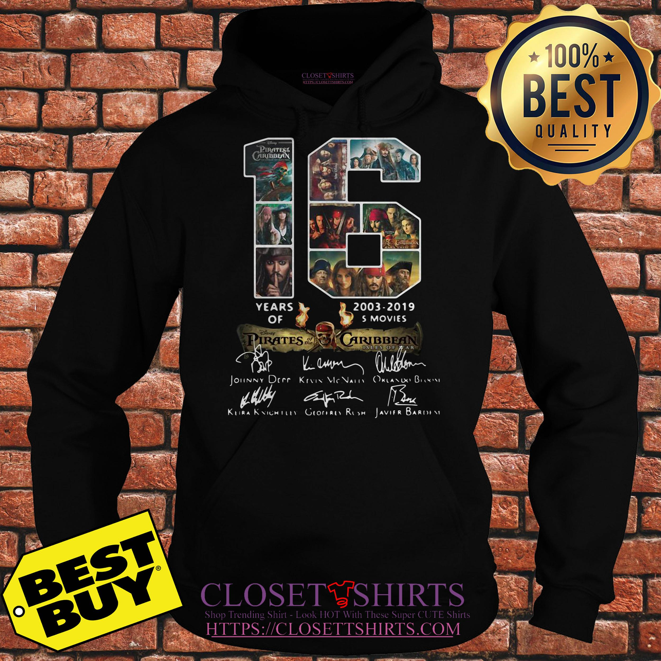16 Years 2003 2019 Of Disney Pirates Of The Caribbean Signature hoodie