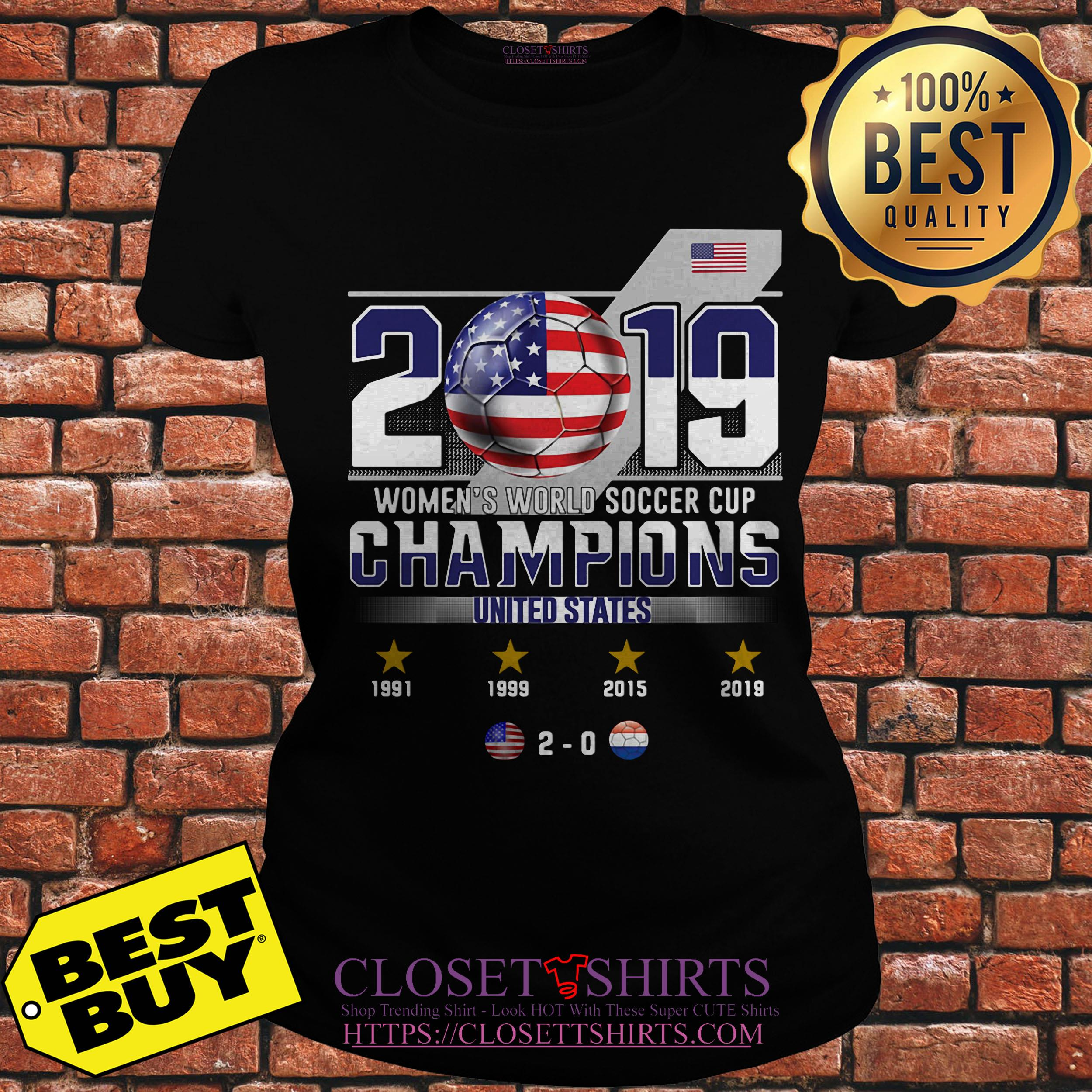 2019 Women's World Soccer Cup Champions United States ladies tee