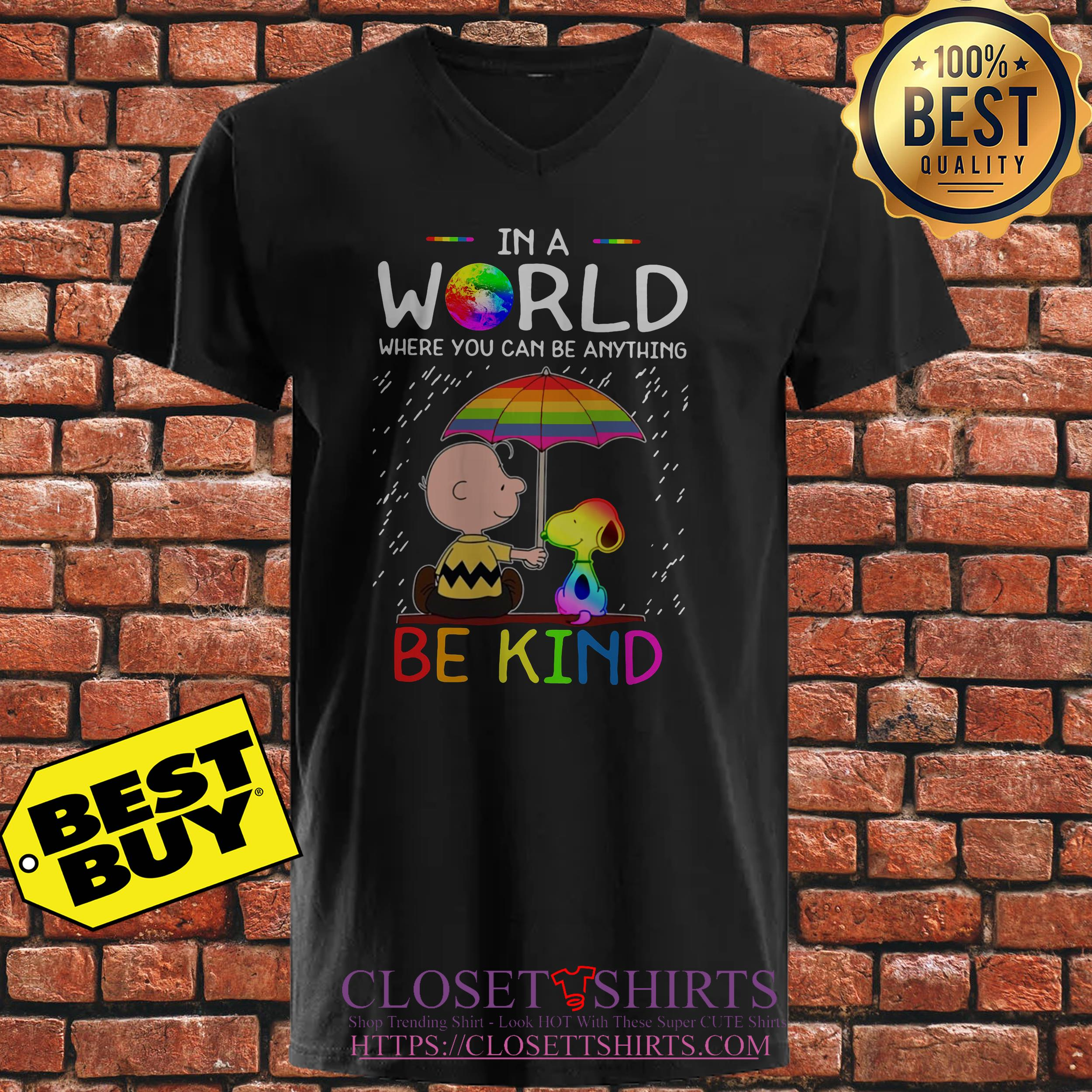 Lgbt Snoopy And Woodstock In A World Where You Can Be Anything Be Kind ladies tee