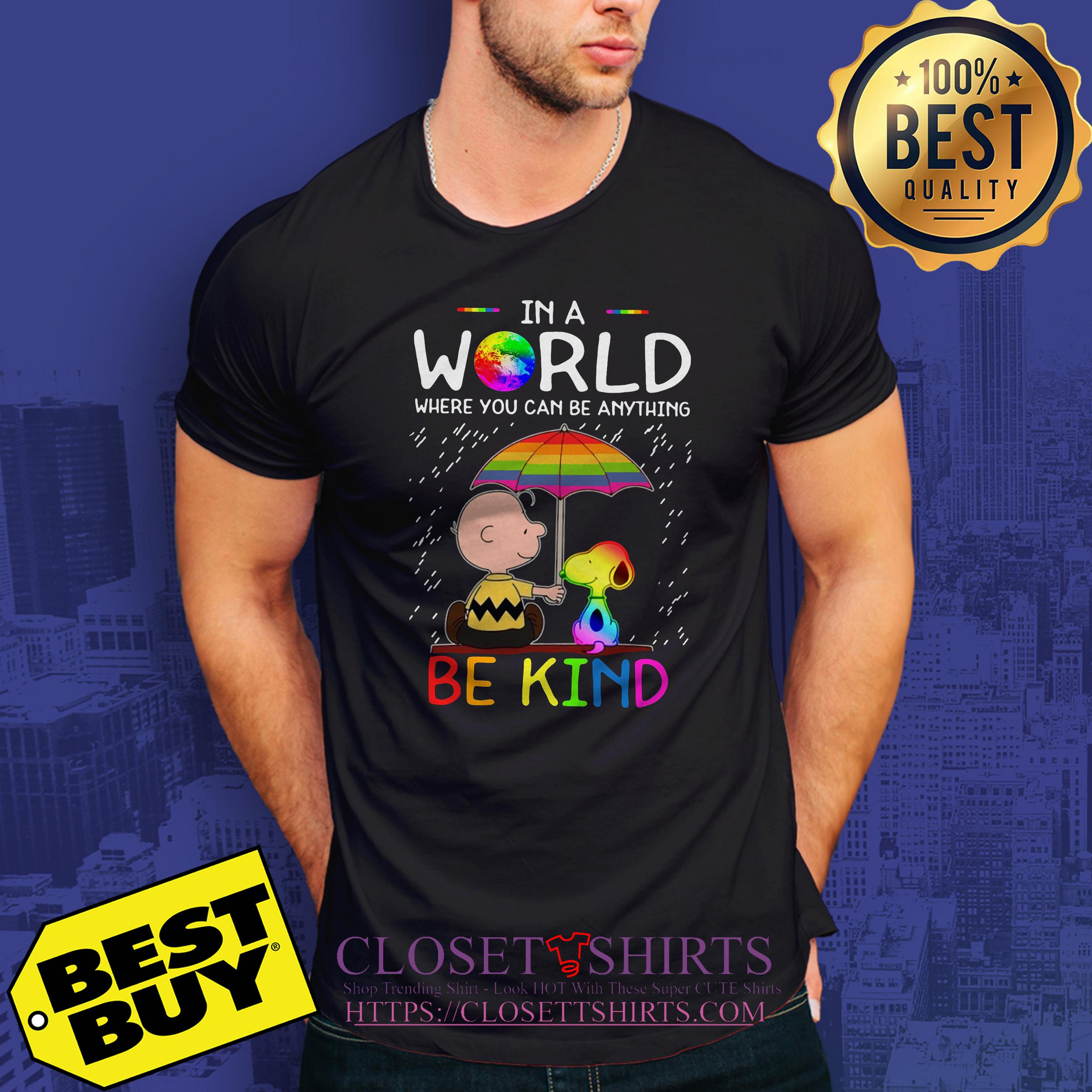 Lgbt Snoopy And Woodstock In A World Where You Can Be Anything Be Kind v-neck