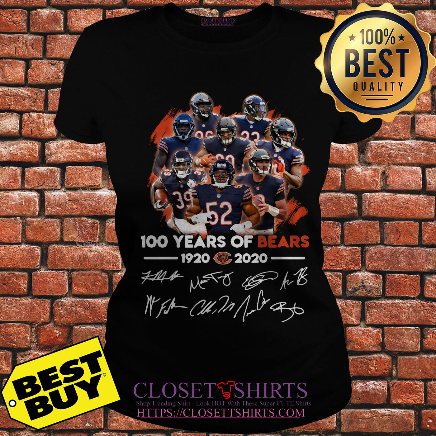 100 Years Of 1920 2020 Chicago Bears Signatures ladies tee
