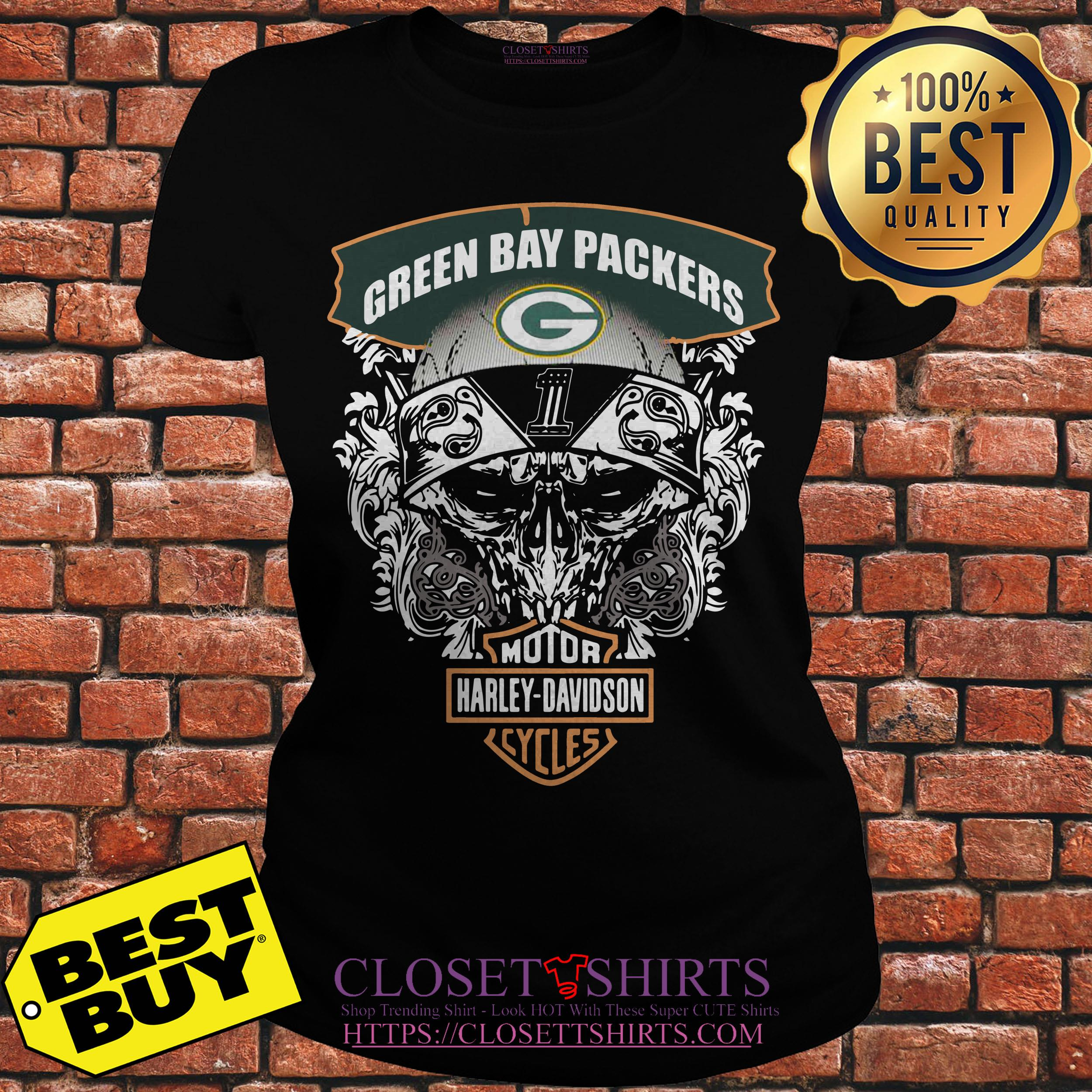 Green Bay Packers Harley Davidson Cycles ladies tee