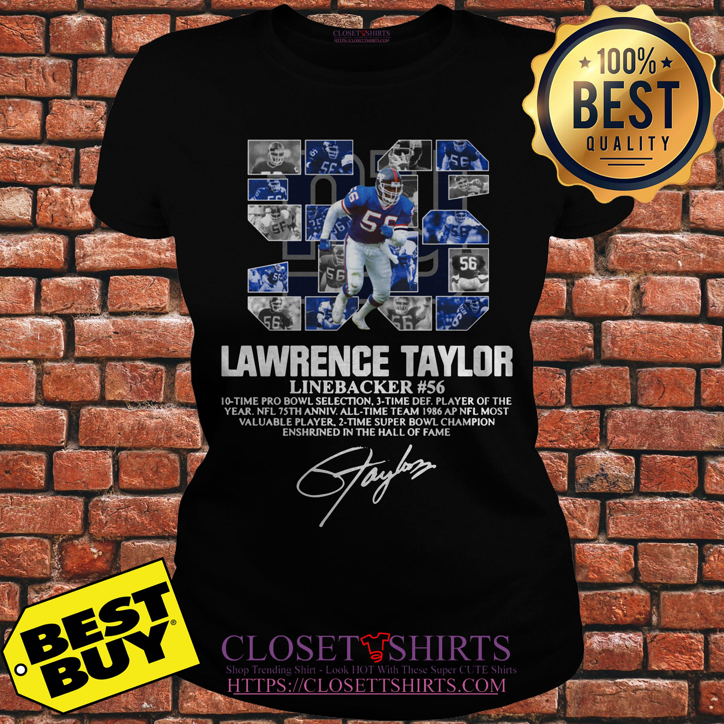 Lawrence Taylor Linebacker 56 New York Giants Signature ladies tee