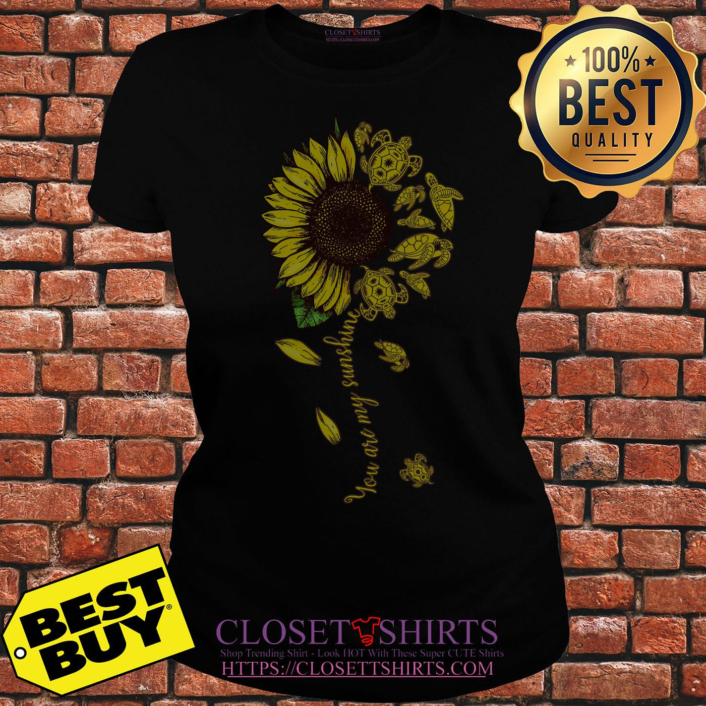 Turtle Sunflower You Are My Sunshine ladies tee