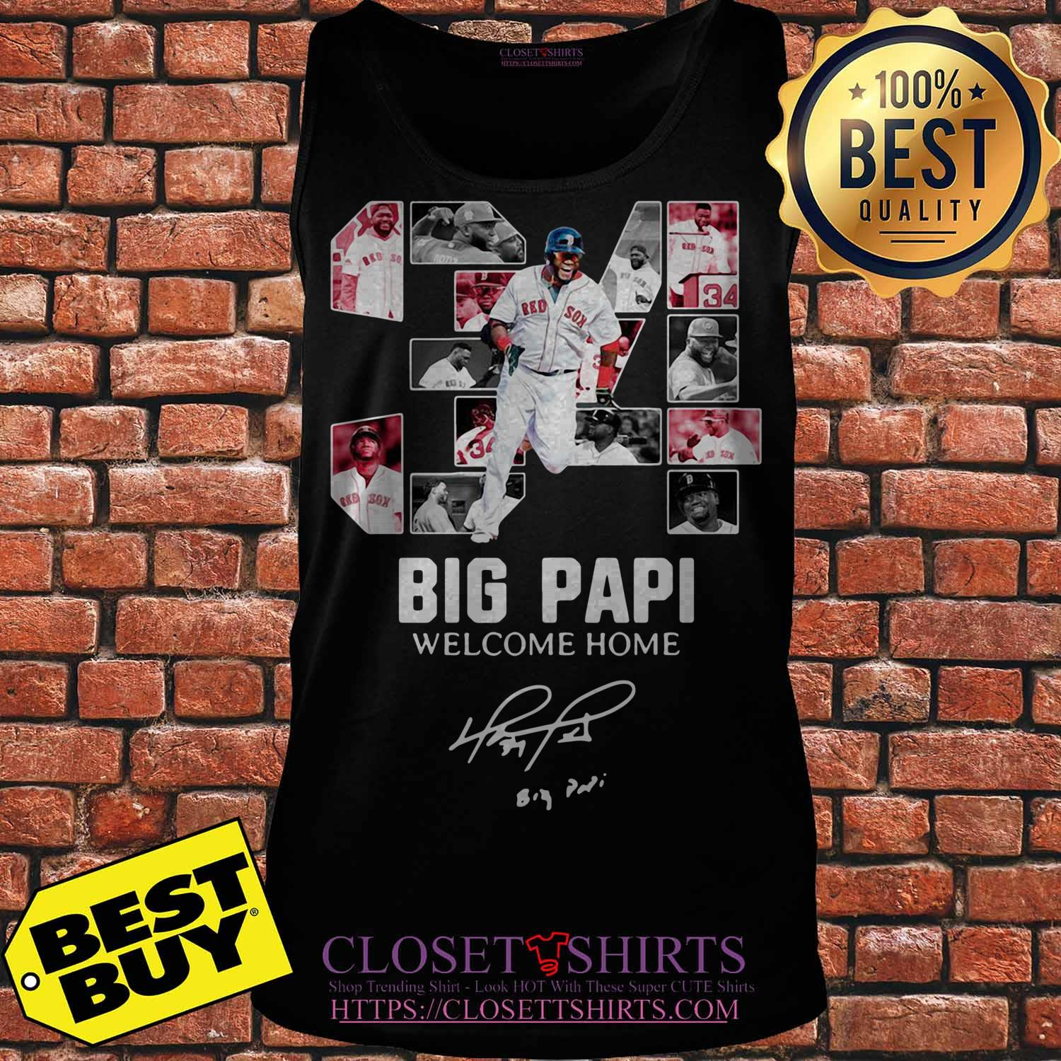 Red Sox 34 Big Papi Welcome Home Signature ladies tee