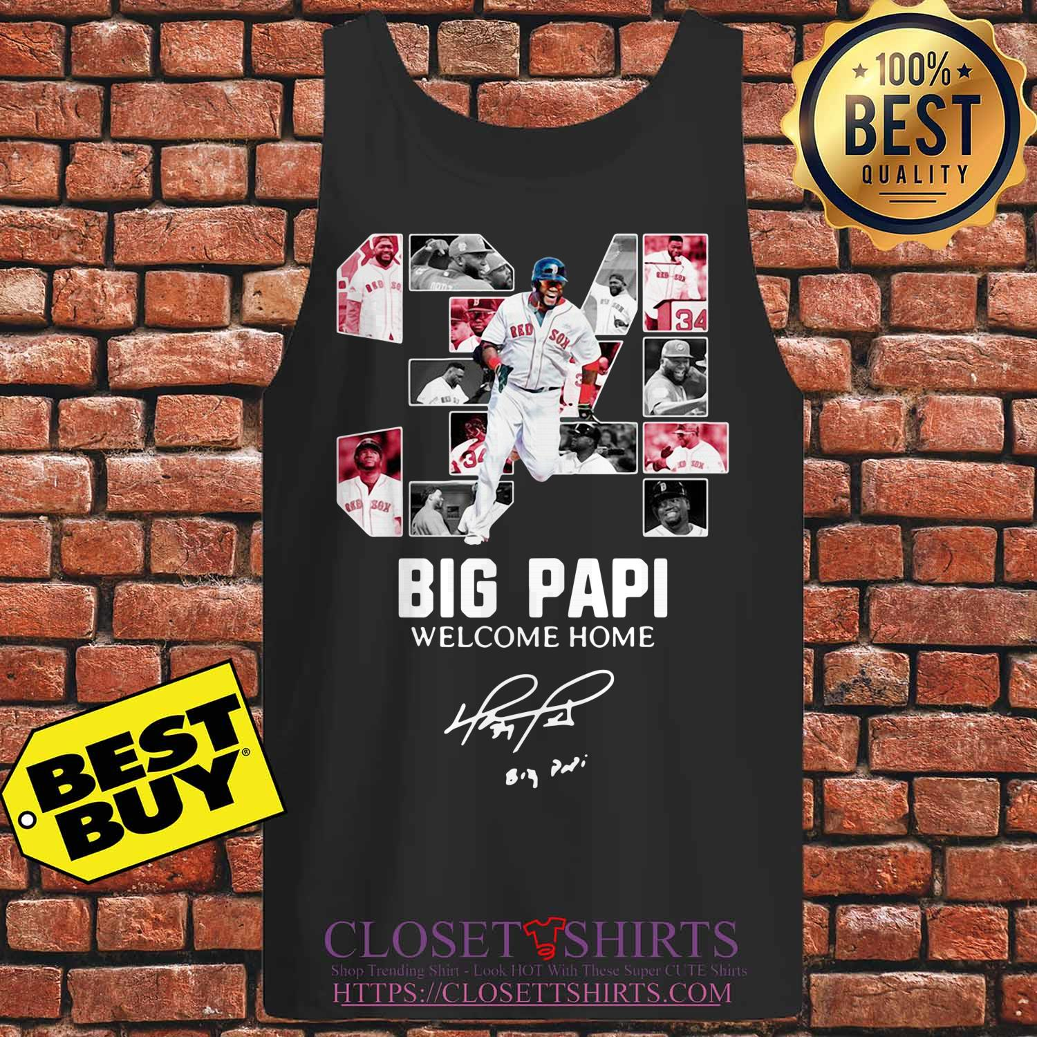 Red Sox 34 Big Papi Welcome Home Signature tank top