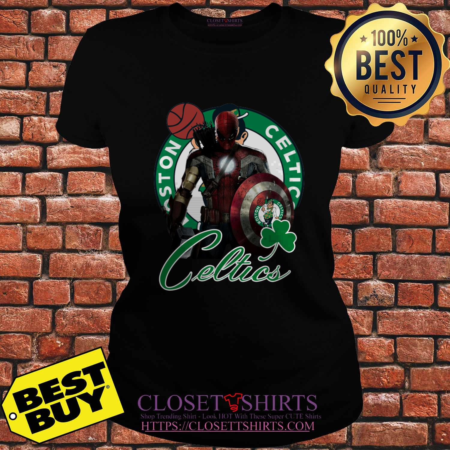 Boston Celtics Nba Basketball Spider Man Hawkeye Avengers Lucky Leaf Ladies Tee