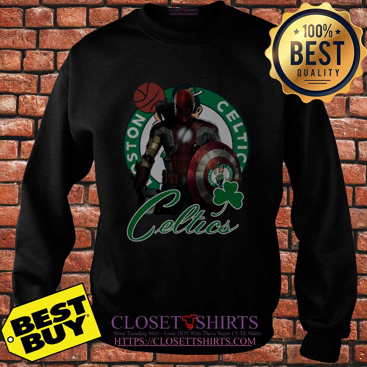 Boston Celtics Nba Basketball Spider Man Hawkeye Avengers Lucky Leaf Sweatshirt
