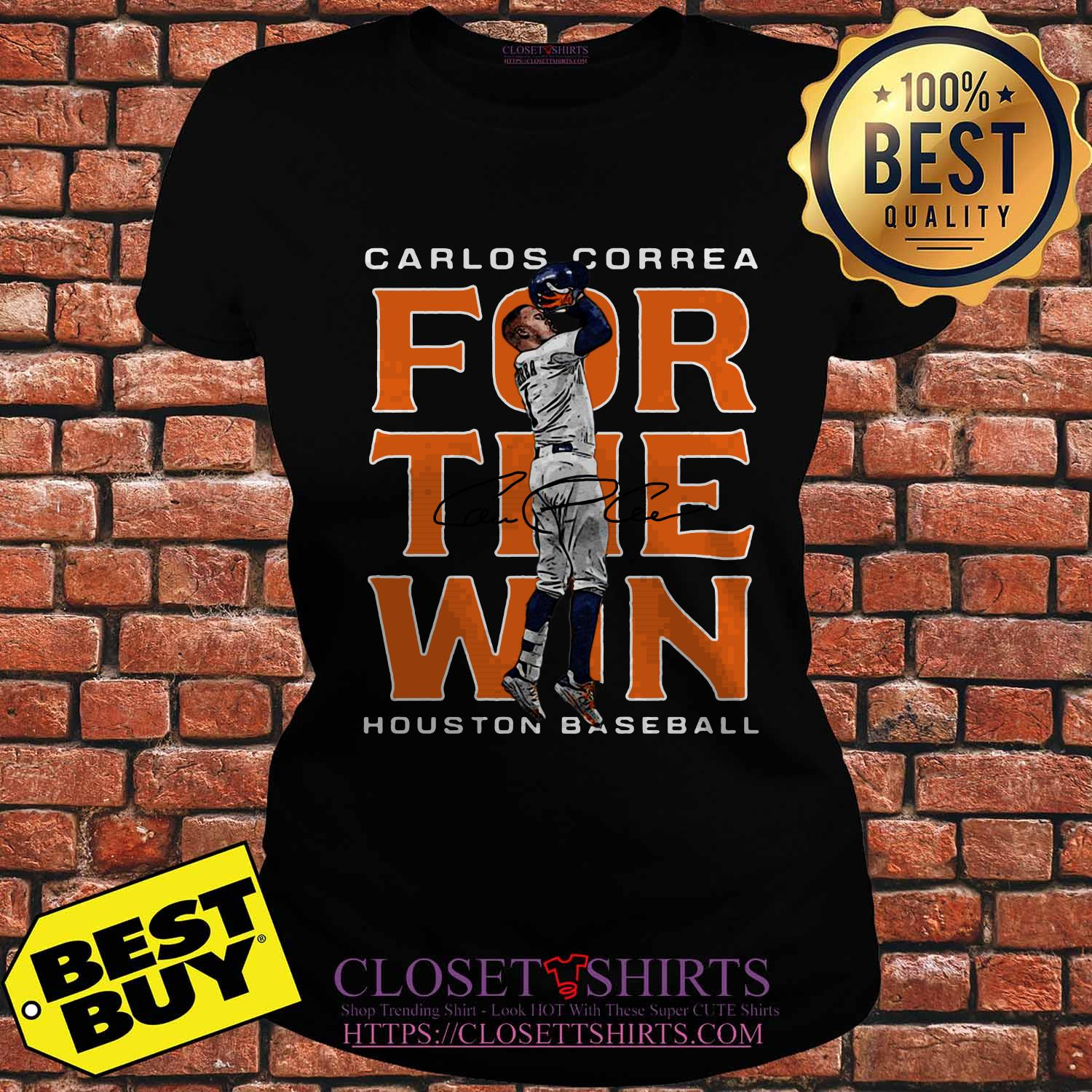 Carlos Correa Houston Astros Baseball Signature ladies tee
