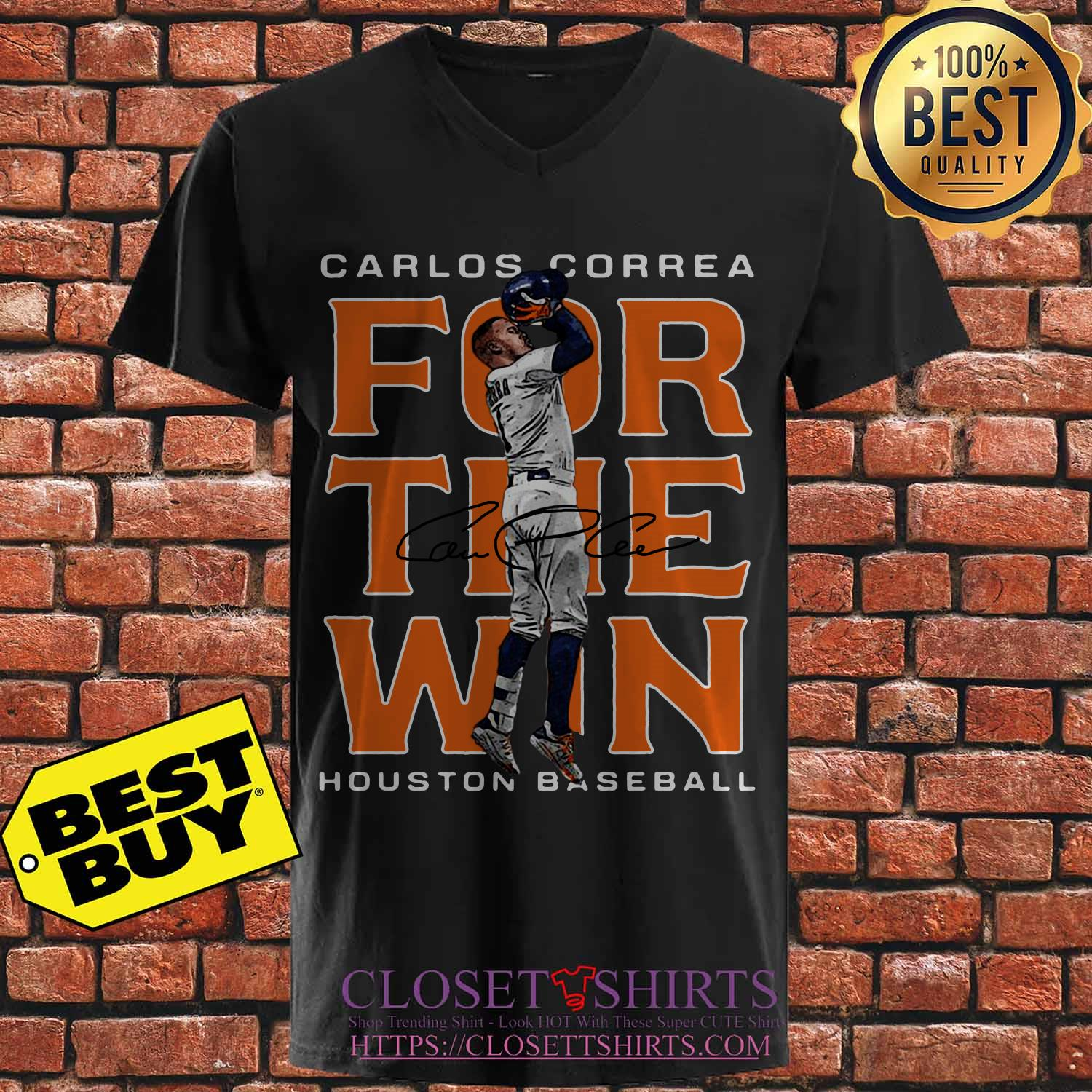 Carlos Correa Houston Astros Baseball Signature v neck