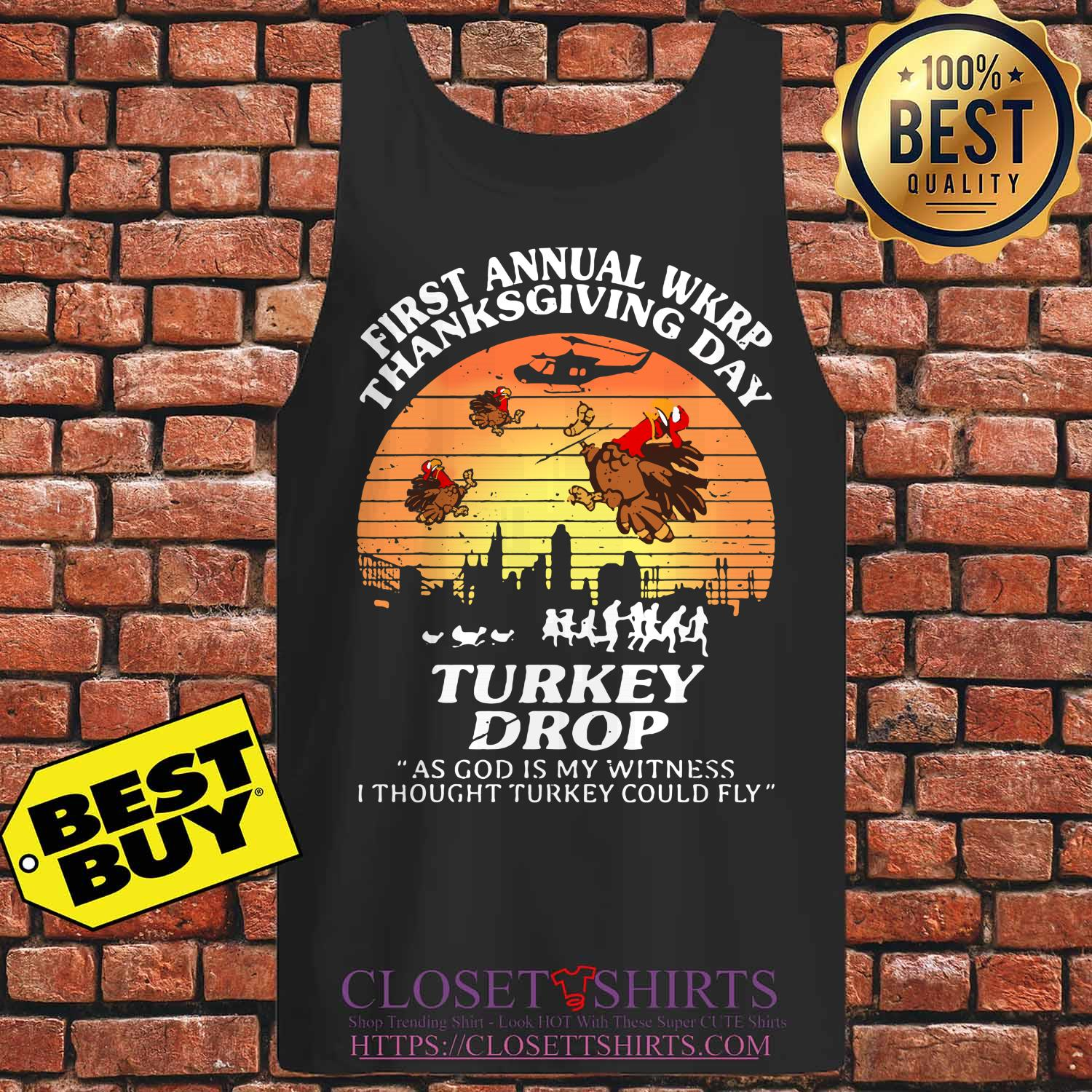 First Annual Wkrp Thanksgiving Day Turkey Drop God Witness Thought Turkeys Fly Vintage Tank Top