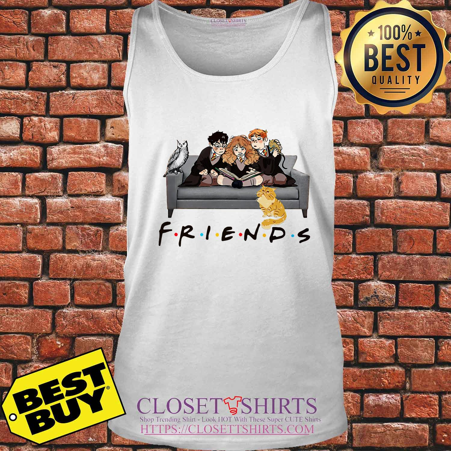 Friends Harry Potter Ron And Hermione Cat And Owl tank top