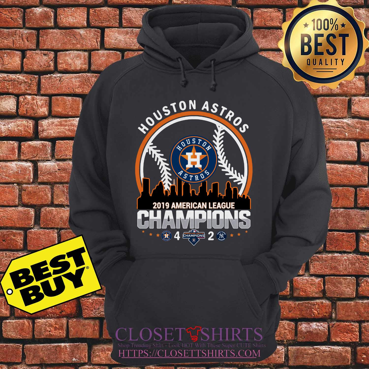 Houston Astros 4 2 New York Yankees American League Champions 2019 Building Hoodie