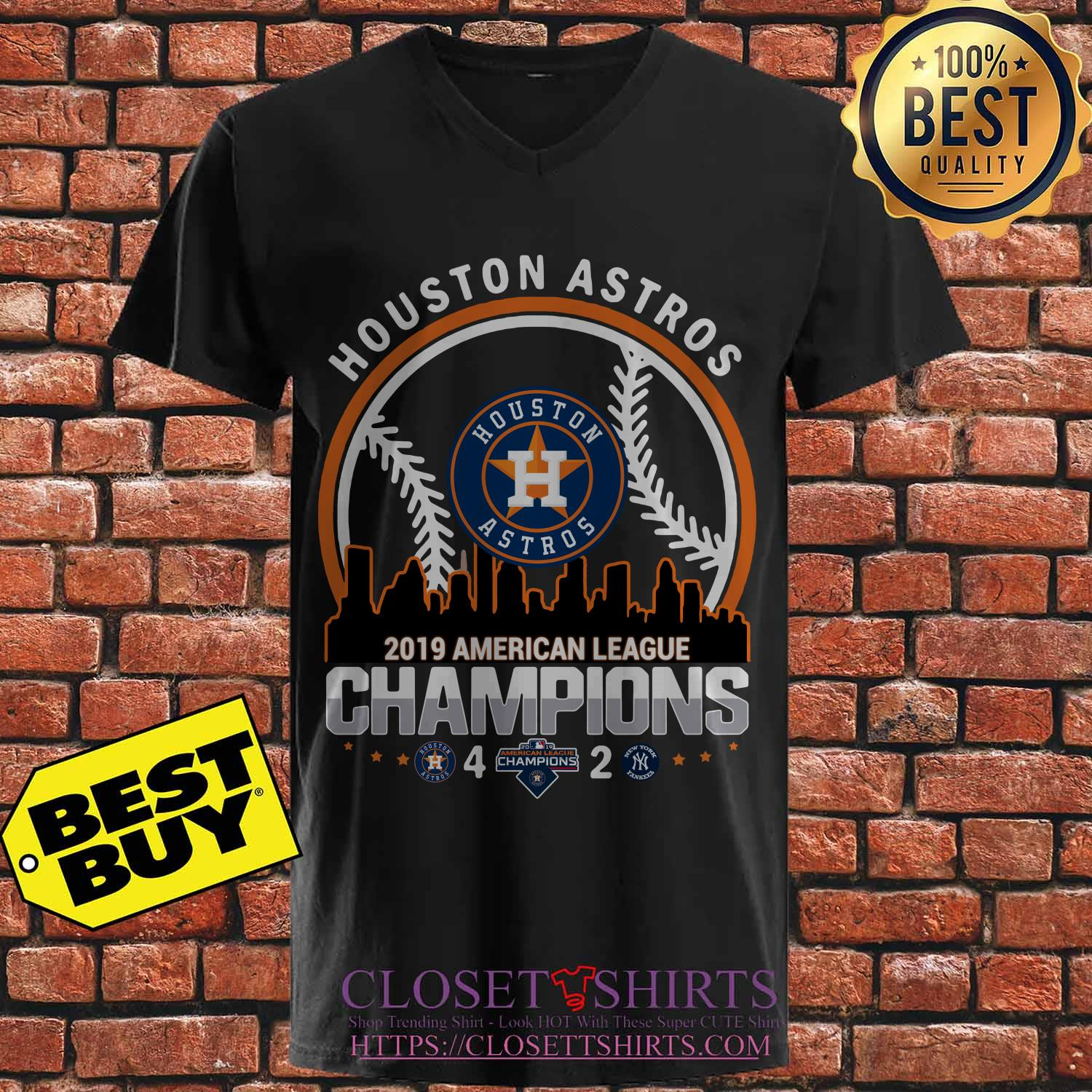 Houston Astros 4 2 New York Yankees American League Champions 2019 Building V Neck