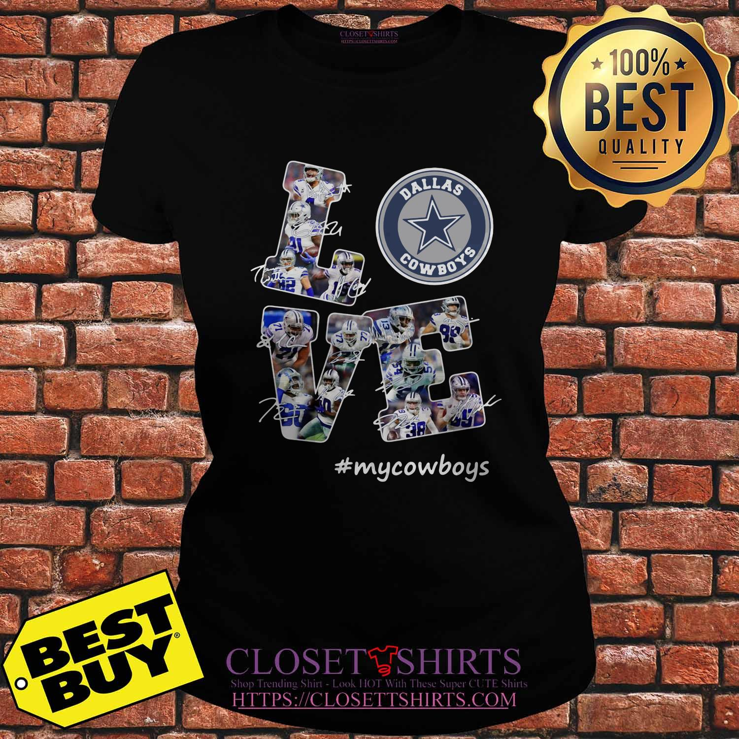 Love Dallas Cowboys My Cowboys Signatures ladies tee