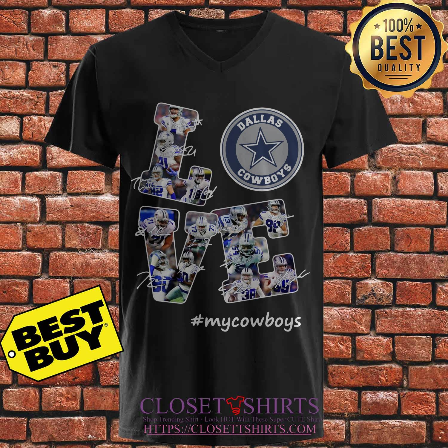 Love Dallas Cowboys My Cowboys Signatures v neck