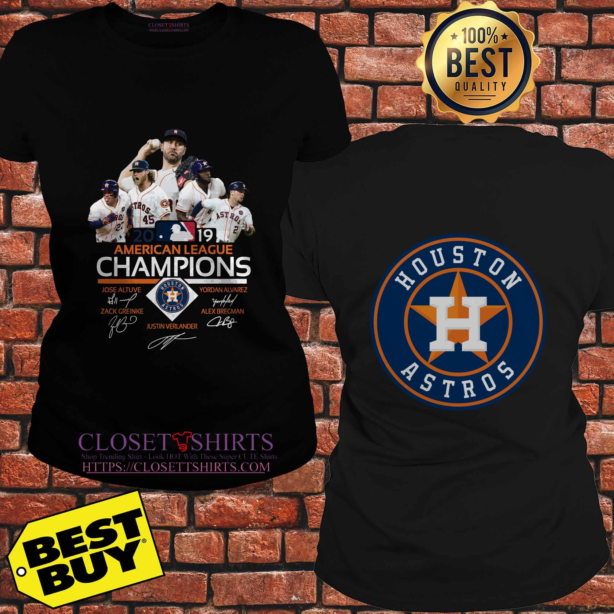 Mbl Major League Baseball Houston Astros American League Champions 2019 Signatures Ladies Tee