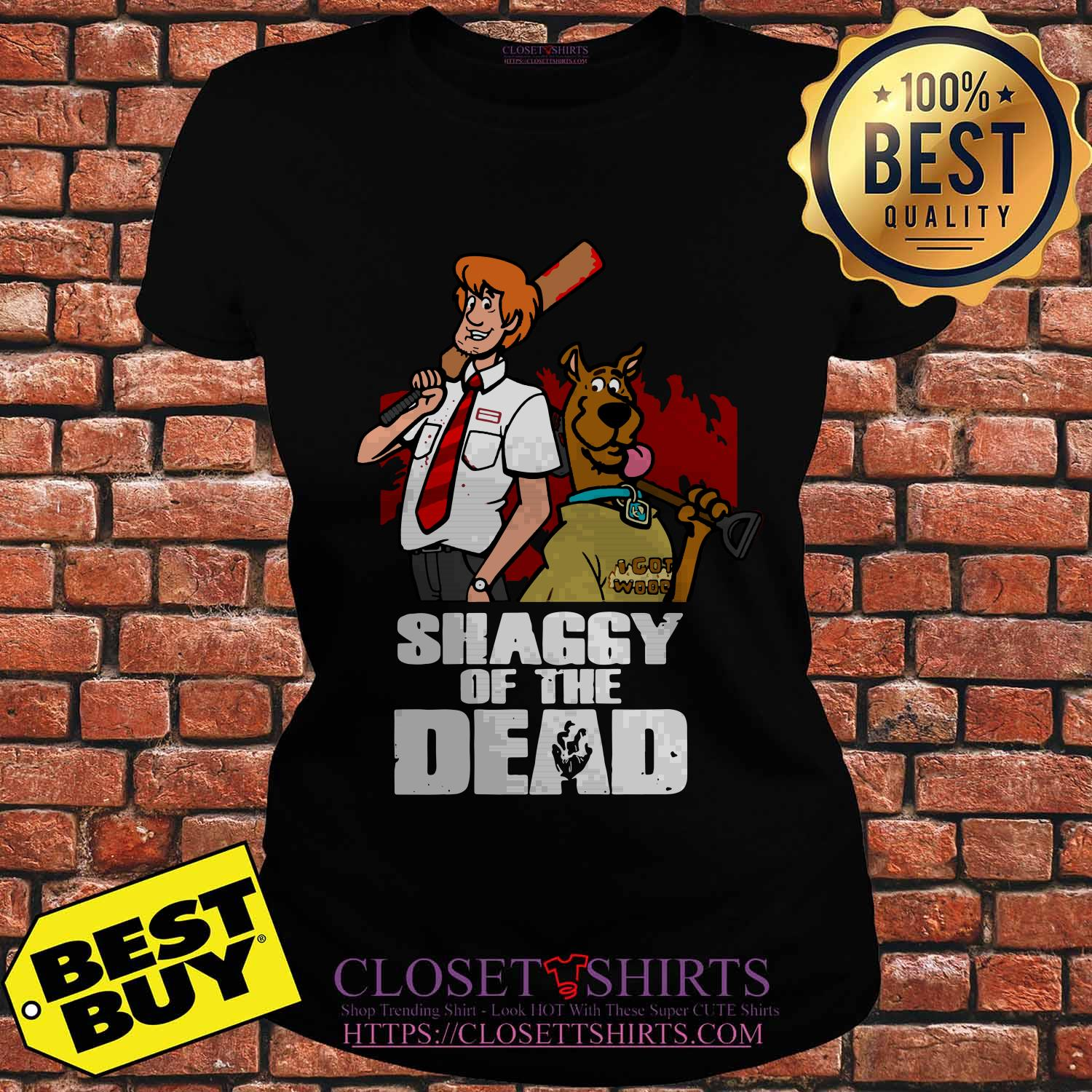 Scooby Doo And Shaggy Of The Dead Baseball ladies tee