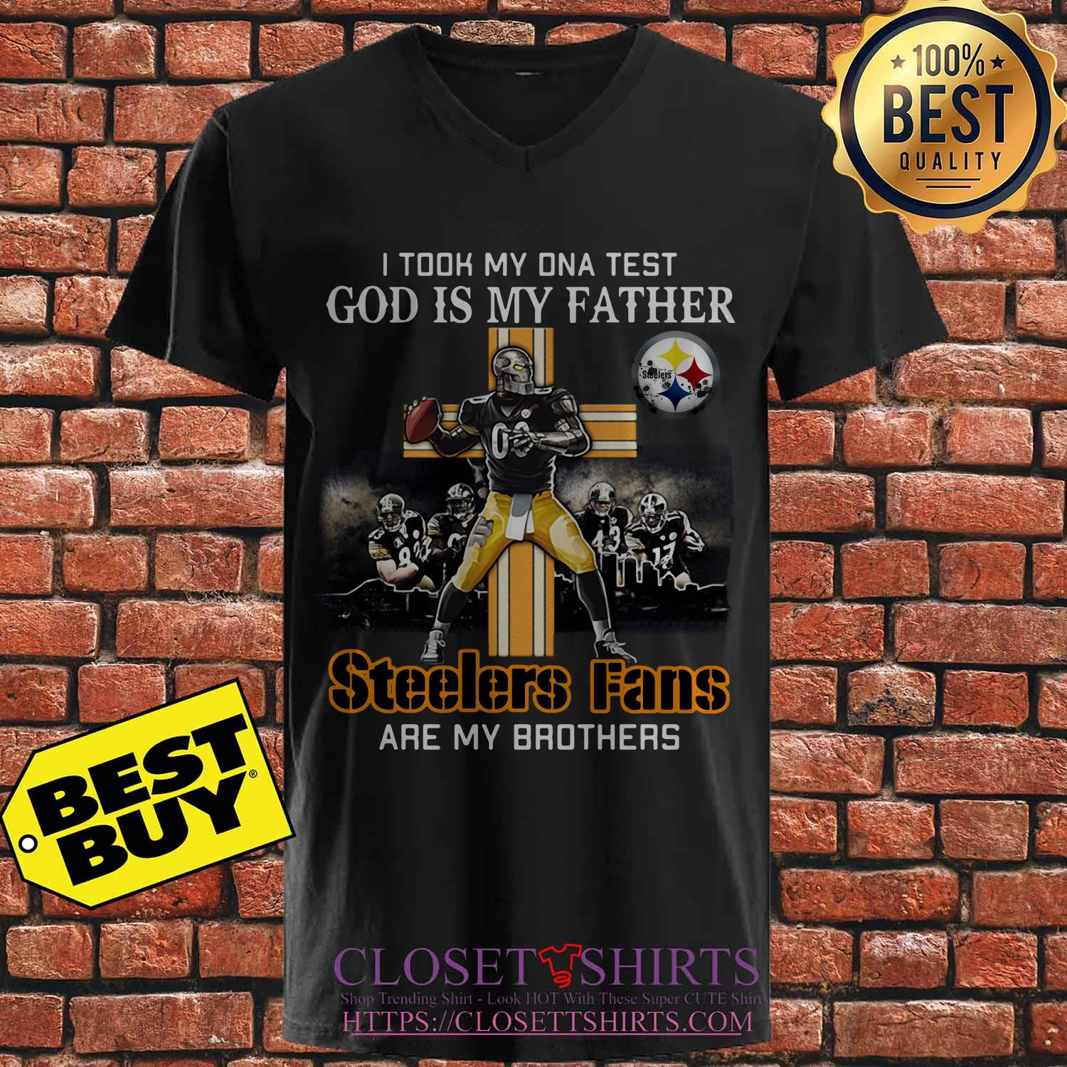 Took Dna Test God Father Pittsburgh Steelers Fans Brothers V Neck