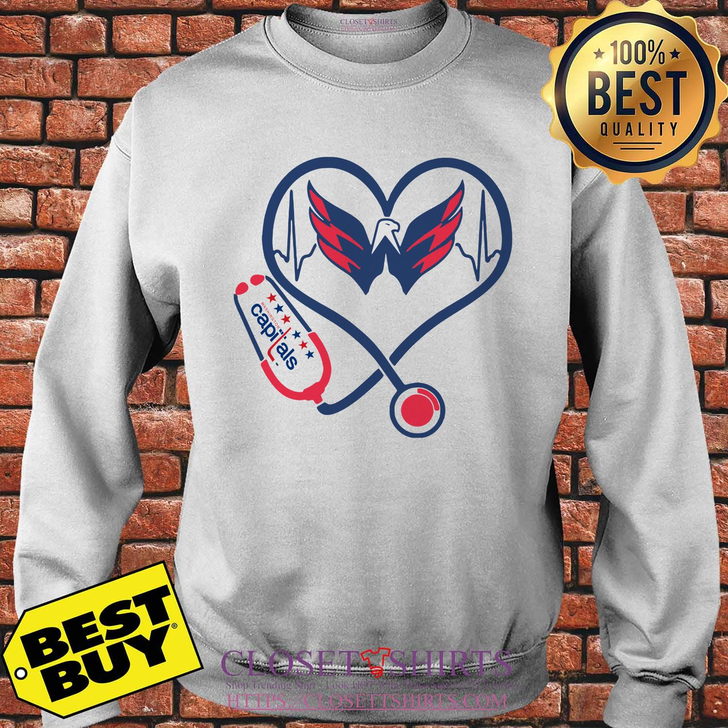 Washington Capitals Nurse Stethoscope Love Heartbeat Sweatshirt