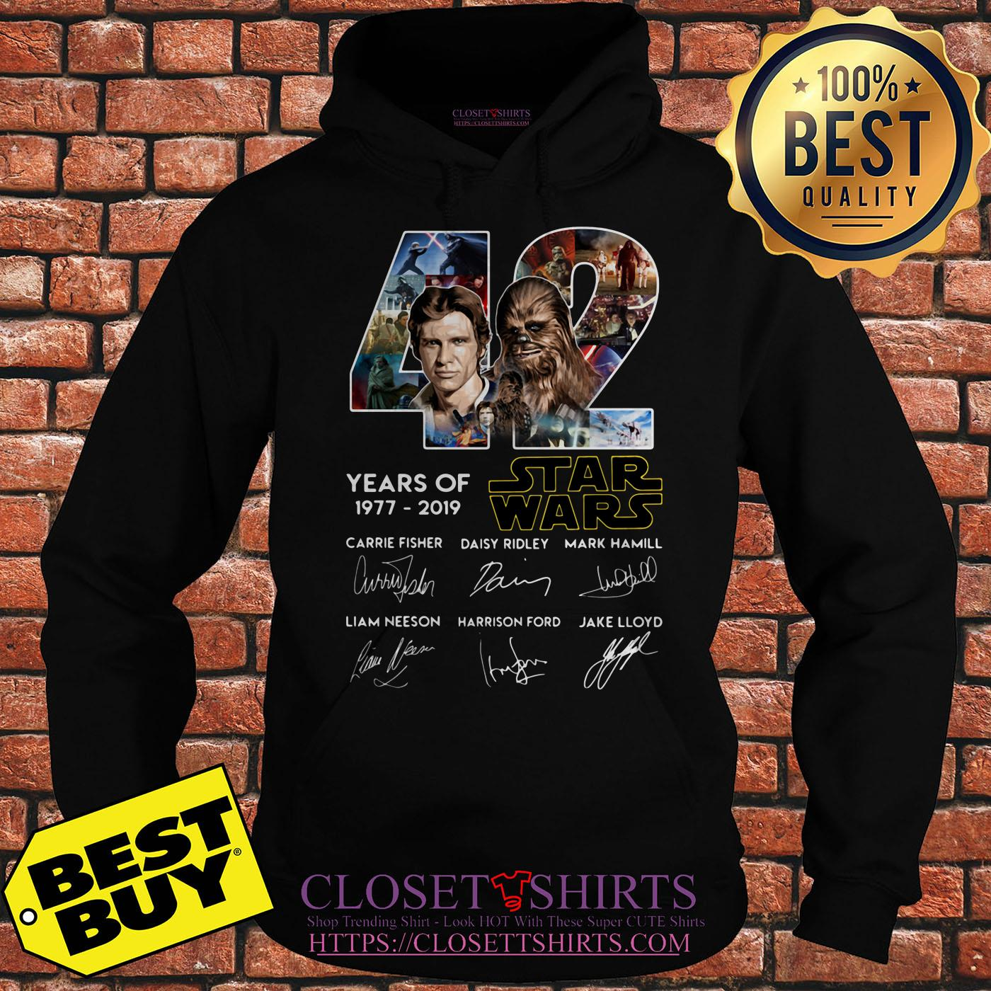42 Years Of Star War 1977 2019 Signatures hoodie.